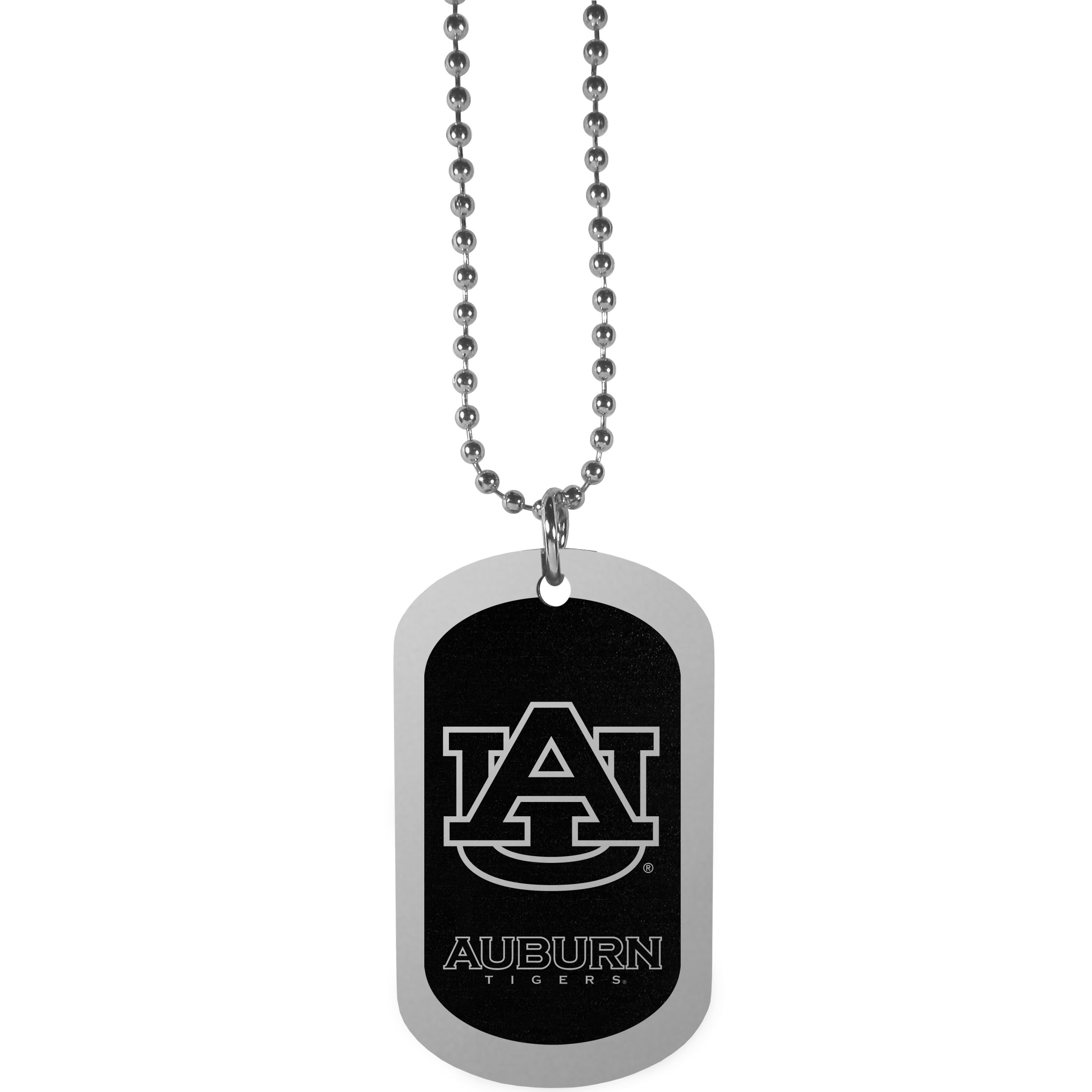 Auburn Tigers Chrome Tag Necklace - Dog tag necklaces are a fashion statement that is here to stay. The sporty version of the classic tag features a black printed over a high polish tag to create a bold and sporty look. The tag comes on a 26 inch ball chain with a ball and joint clasp. Any Auburn Tigers would be proud to wear this attractive fashion accessory.