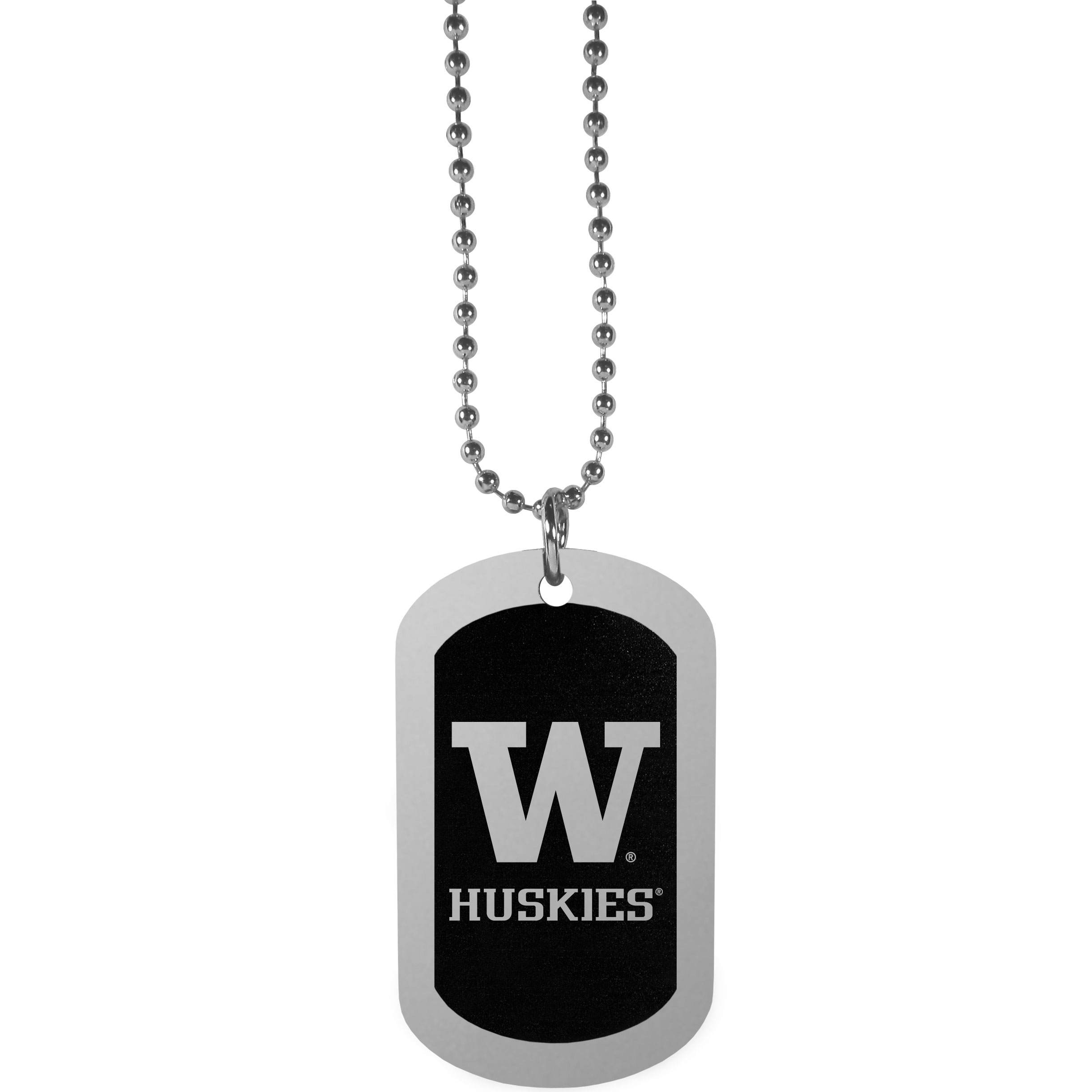 Washington Huskies Chrome Tag Necklace - Dog tag necklaces are a fashion statement that is here to stay. The sporty version of the classic tag features a black printed over a high polish tag to create a bold and sporty look. The tag comes on a 26 inch ball chain with a ball and joint clasp. Any Washington Huskies would be proud to wear this attractive fashion accessory.