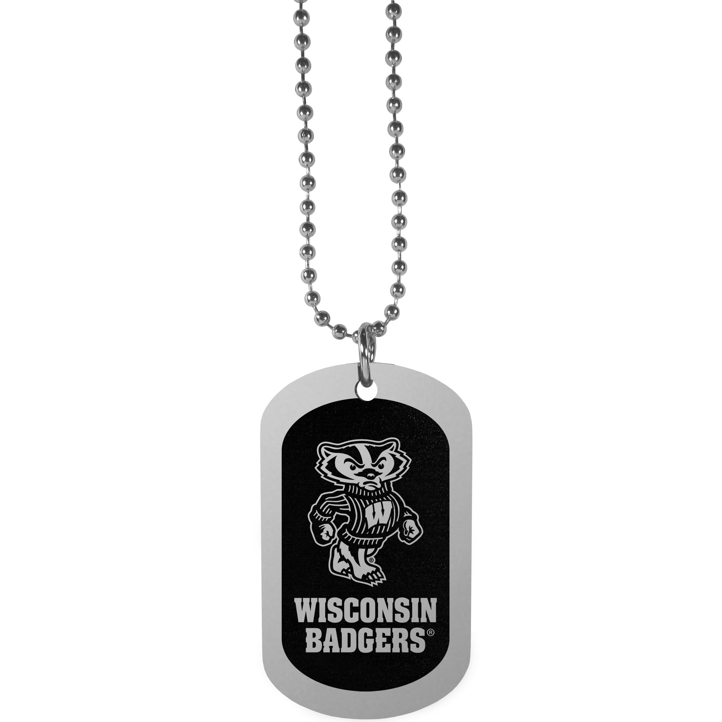 Wisconsin Badgers Chrome Tag Necklace - Dog tag necklaces are a fashion statement that is here to stay. The sporty version of the classic tag features a black printed over a high polish tag to create a bold and sporty look. The tag comes on a 26 inch ball chain with a ball and joint clasp. Any Wisconsin Badgers would be proud to wear this attractive fashion accessory.