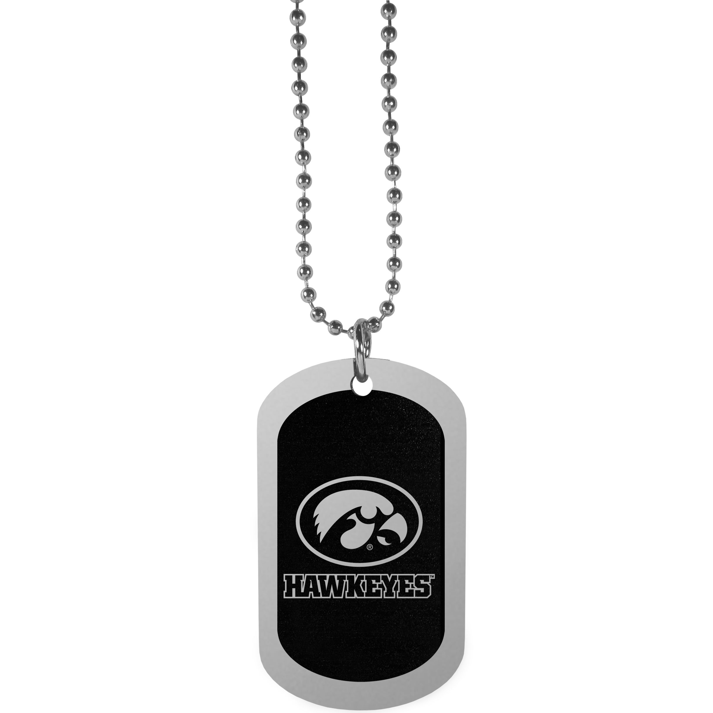 Iowa Hawkeyes Chrome Tag Necklace - Dog tag necklaces are a fashion statement that is here to stay. The sporty version of the classic tag features a black printed over a high polish tag to create a bold and sporty look. The tag comes on a 26 inch ball chain with a ball and joint clasp. Any Iowa Hawkeyes would be proud to wear this attractive fashion accessory.