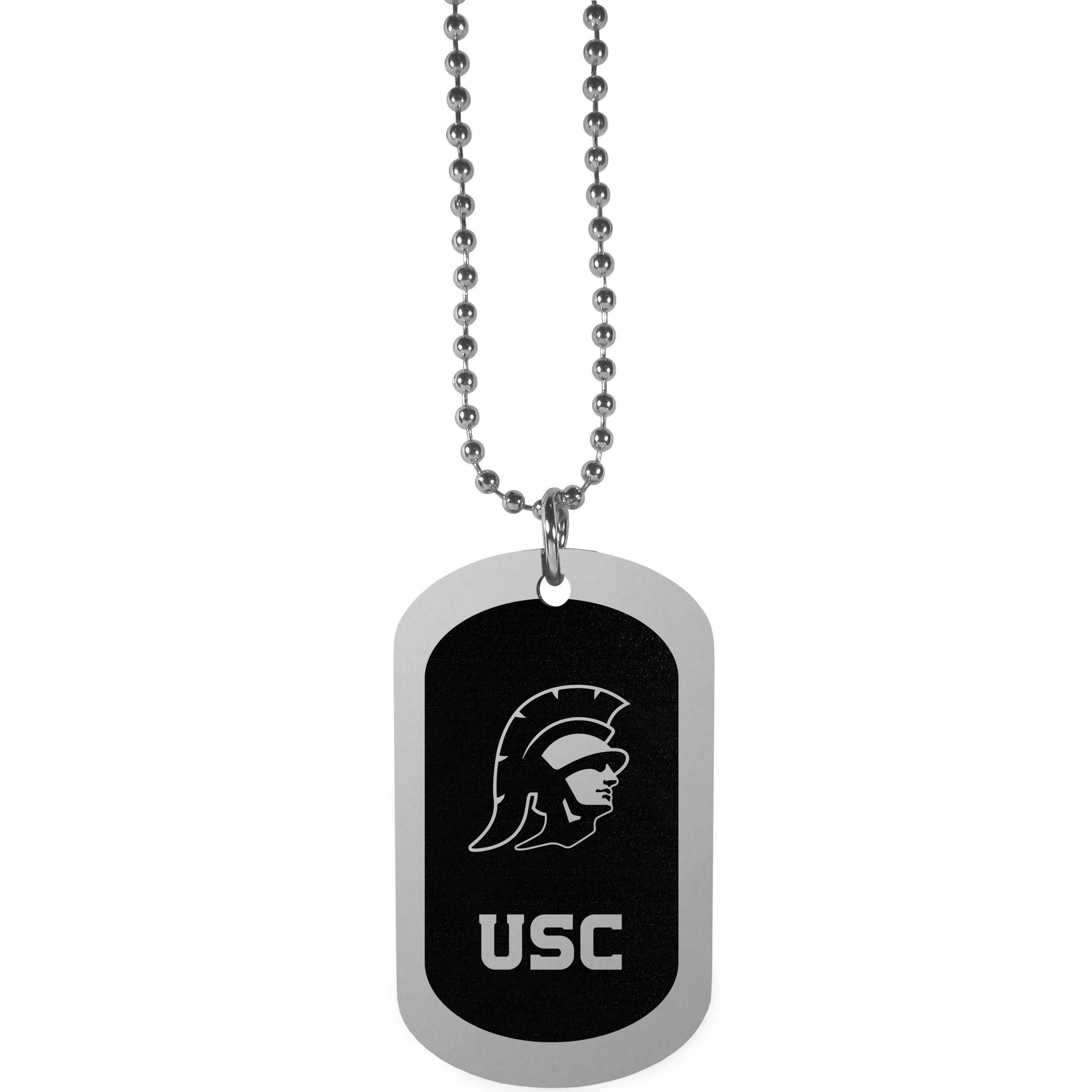 USC Trojans Chrome Tag Necklace - Dog tag necklaces are a fashion statement that is here to stay. The sporty version of the classic tag features a black printed over a high polish tag to create a bold and sporty look. The tag comes on a 26 inch ball chain with a ball and joint clasp. Any USC Trojans would be proud to wear this attractive fashion accessory.