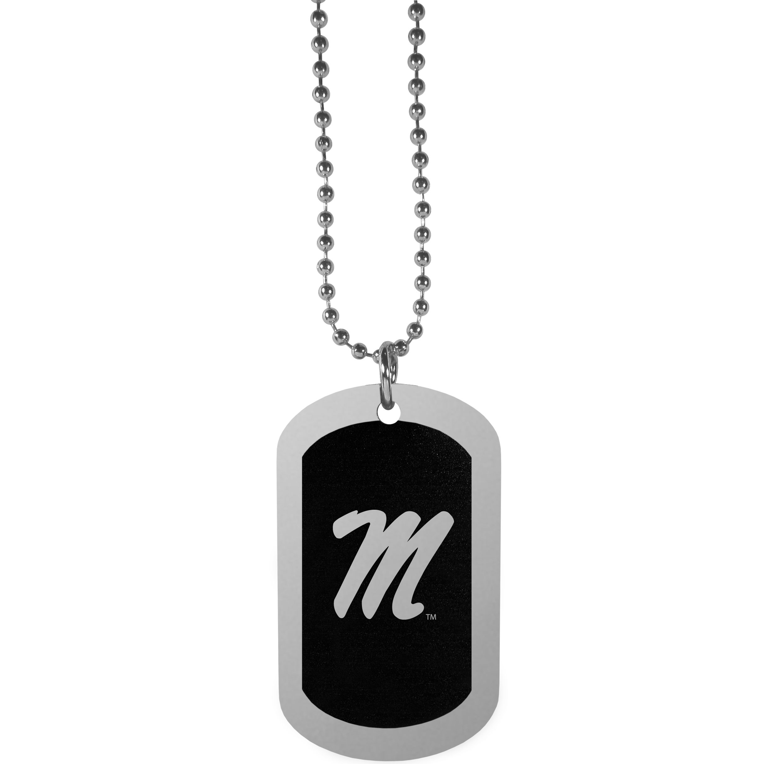 Mississippi Rebels Chrome Tag Necklace - Dog tag necklaces are a fashion statement that is here to stay. The sporty version of the classic tag features a black printed over a high polish tag to create a bold and sporty look. The tag comes on a 26 inch ball chain with a ball and joint clasp. Any Mississippi Rebels would be proud to wear this attractive fashion accessory.