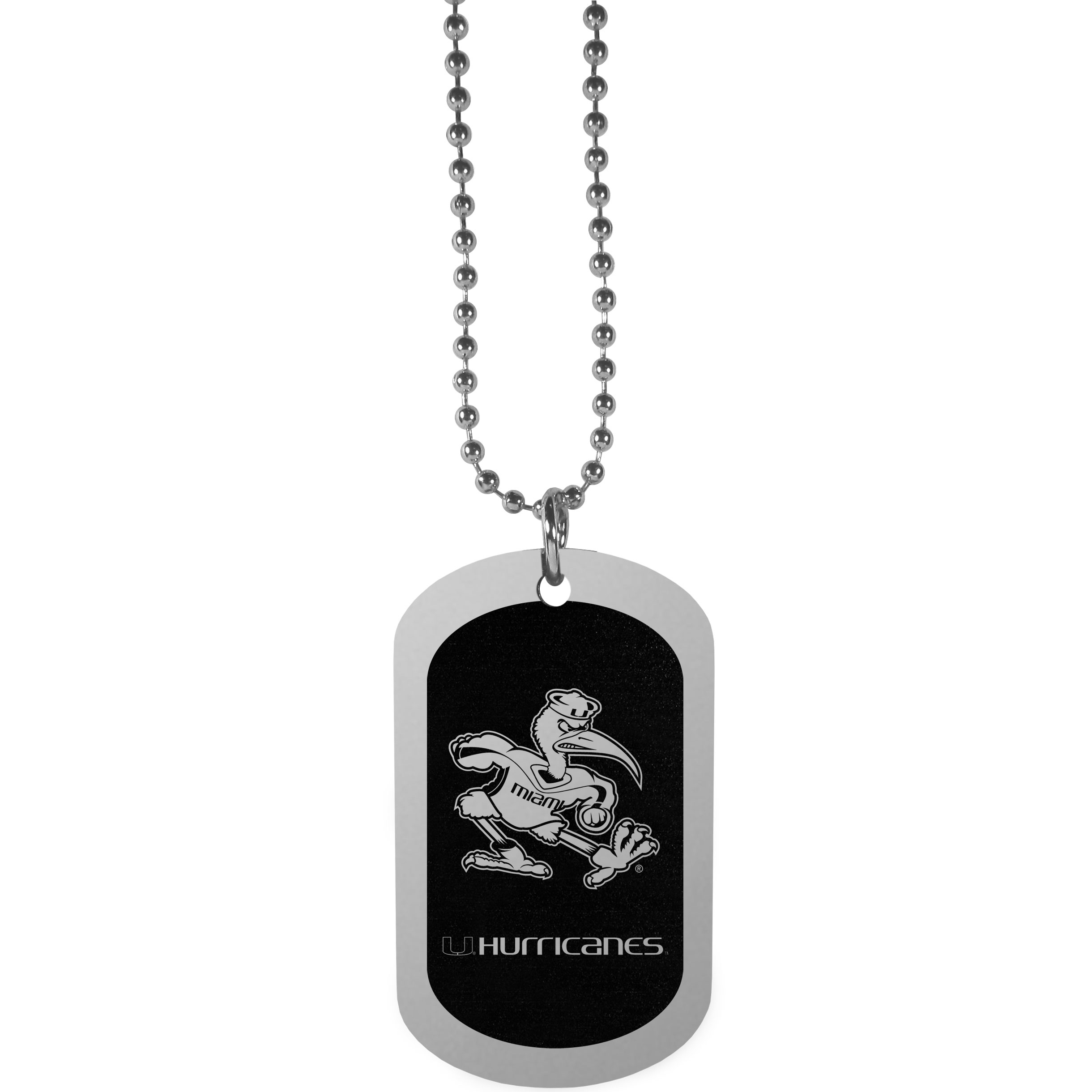 Miami Hurricanes Chrome Tag Necklace - Dog tag necklaces are a fashion statement that is here to stay. The sporty version of the classic tag features a black printed over a high polish tag to create a bold and sporty look. The tag comes on a 26 inch ball chain with a ball and joint clasp. Any Miami Hurricanes would be proud to wear this attractive fashion accessory.
