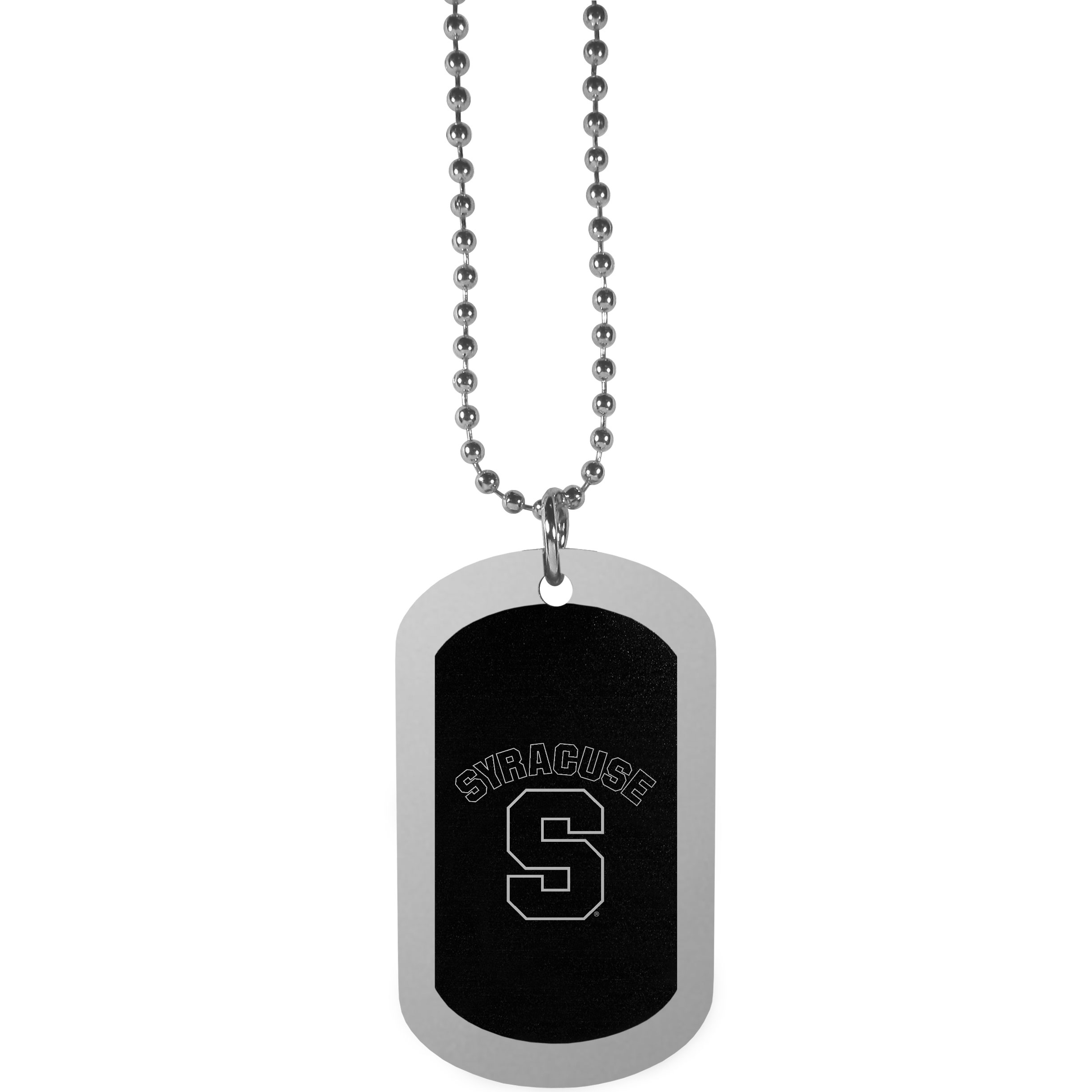 Syracuse Orange Chrome Tag Necklace - Dog tag necklaces are a fashion statement that is here to stay. The sporty version of the classic tag features a black printed over a high polish tag to create a bold and sporty look. The tag comes on a 26 inch ball chain with a ball and joint clasp. Any Syracuse Orange would be proud to wear this attractive fashion accessory.