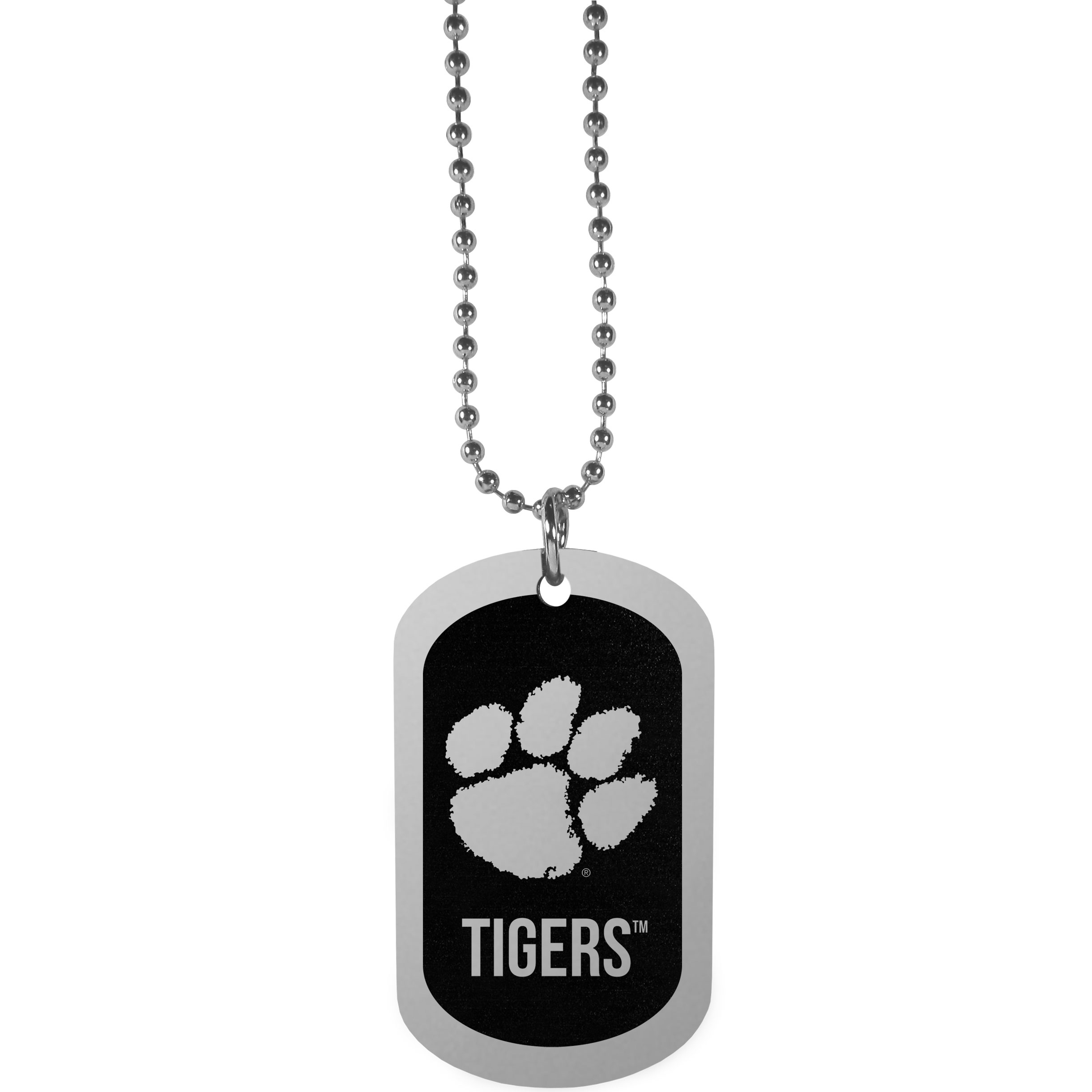 Clemson Tigers Chrome Tag Necklace - Dog tag necklaces are a fashion statement that is here to stay. The sporty version of the classic tag features a black printed over a high polish tag to create a bold and sporty look. The tag comes on a 26 inch ball chain with a ball and joint clasp. Any Clemson Tigers would be proud to wear this attractive fashion accessory.
