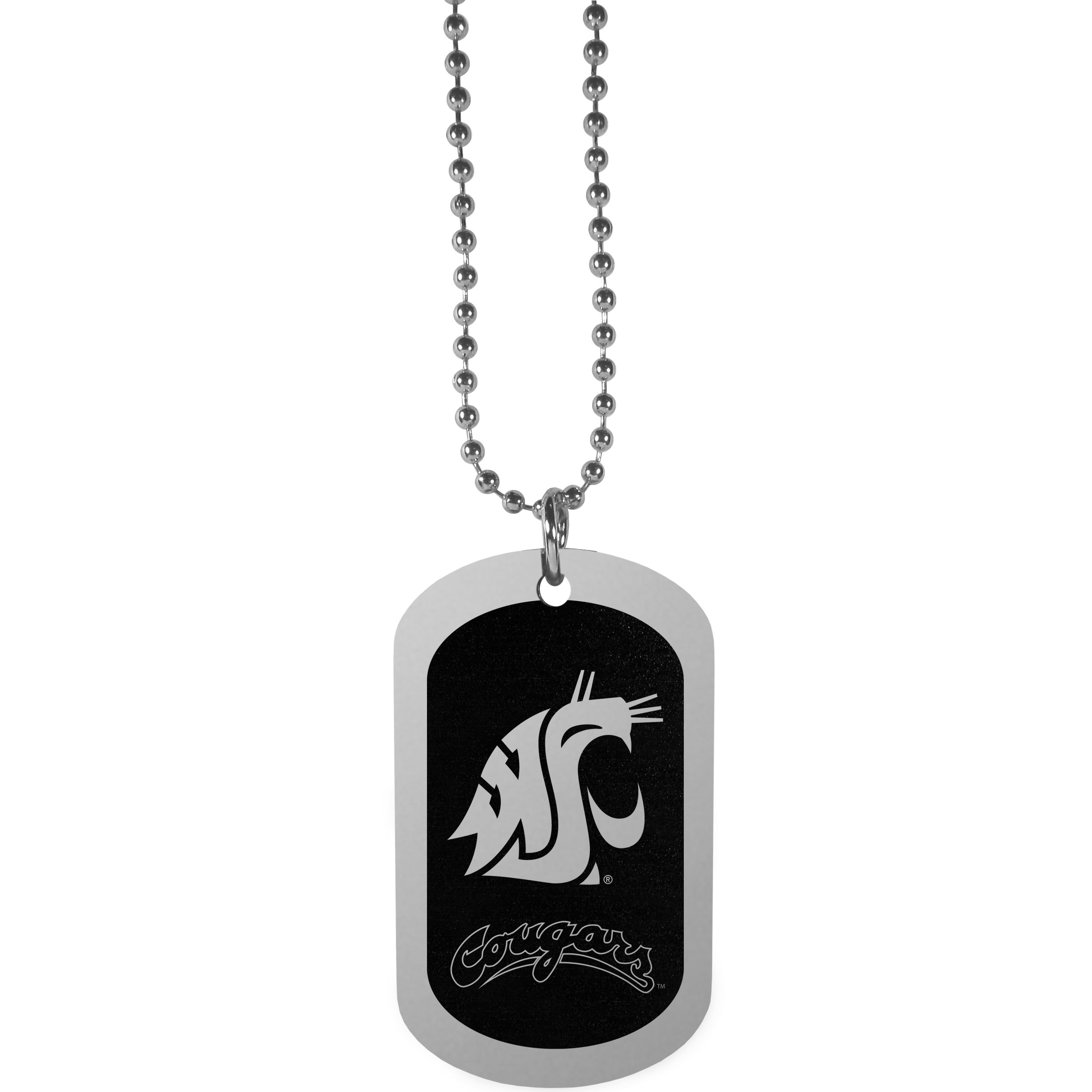 Washington St. Cougars Chrome Tag Necklace - Dog tag necklaces are a fashion statement that is here to stay. The sporty version of the classic tag features a black printed over a high polish tag to create a bold and sporty look. The tag comes on a 26 inch ball chain with a ball and joint clasp. Any Washington St. Cougars would be proud to wear this attractive fashion accessory.