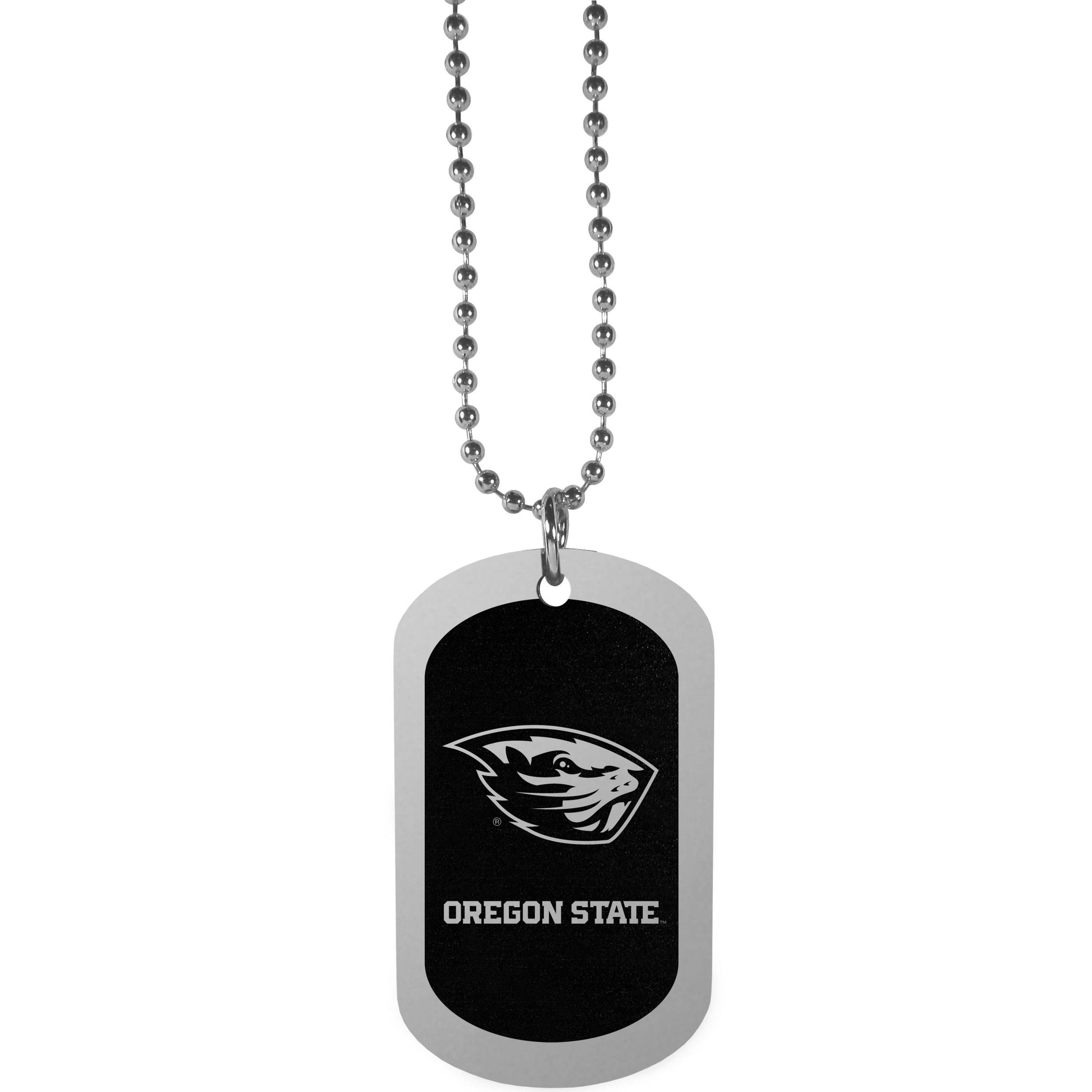 Oregon St. Beavers Chrome Tag Necklace - Dog tag necklaces are a fashion statement that is here to stay. The sporty version of the classic tag features a black printed over a high polish tag to create a bold and sporty look. The tag comes on a 26 inch ball chain with a ball and joint clasp. Any Oregon St. Beavers would be proud to wear this attractive fashion accessory.