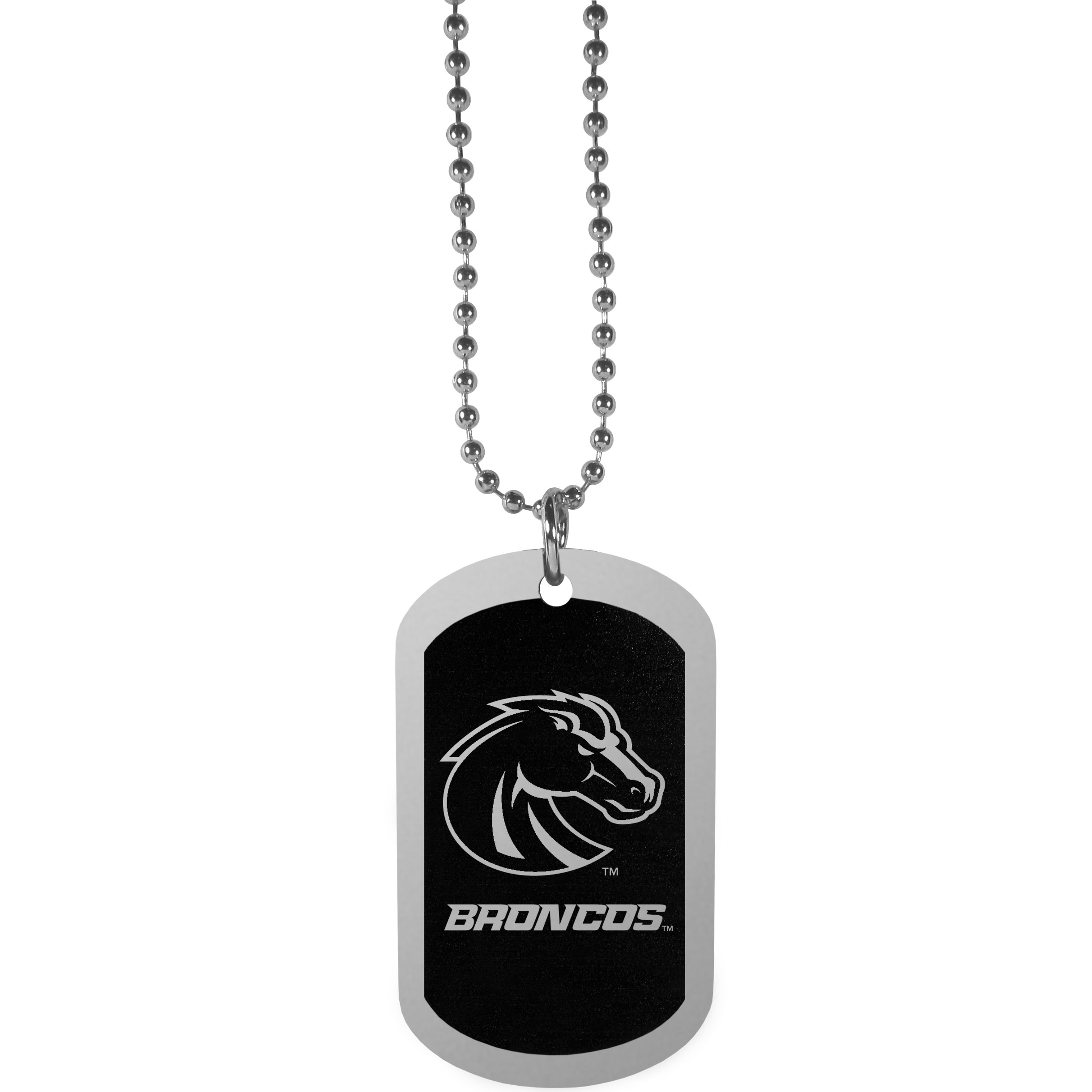Boise St. Broncos Chrome Tag Necklace - Dog tag necklaces are a fashion statement that is here to stay. The sporty version of the classic tag features a black printed over a high polish tag to create a bold and sporty look. The tag comes on a 26 inch ball chain with a ball and joint clasp. Any Boise St. Broncos would be proud to wear this attractive fashion accessory.
