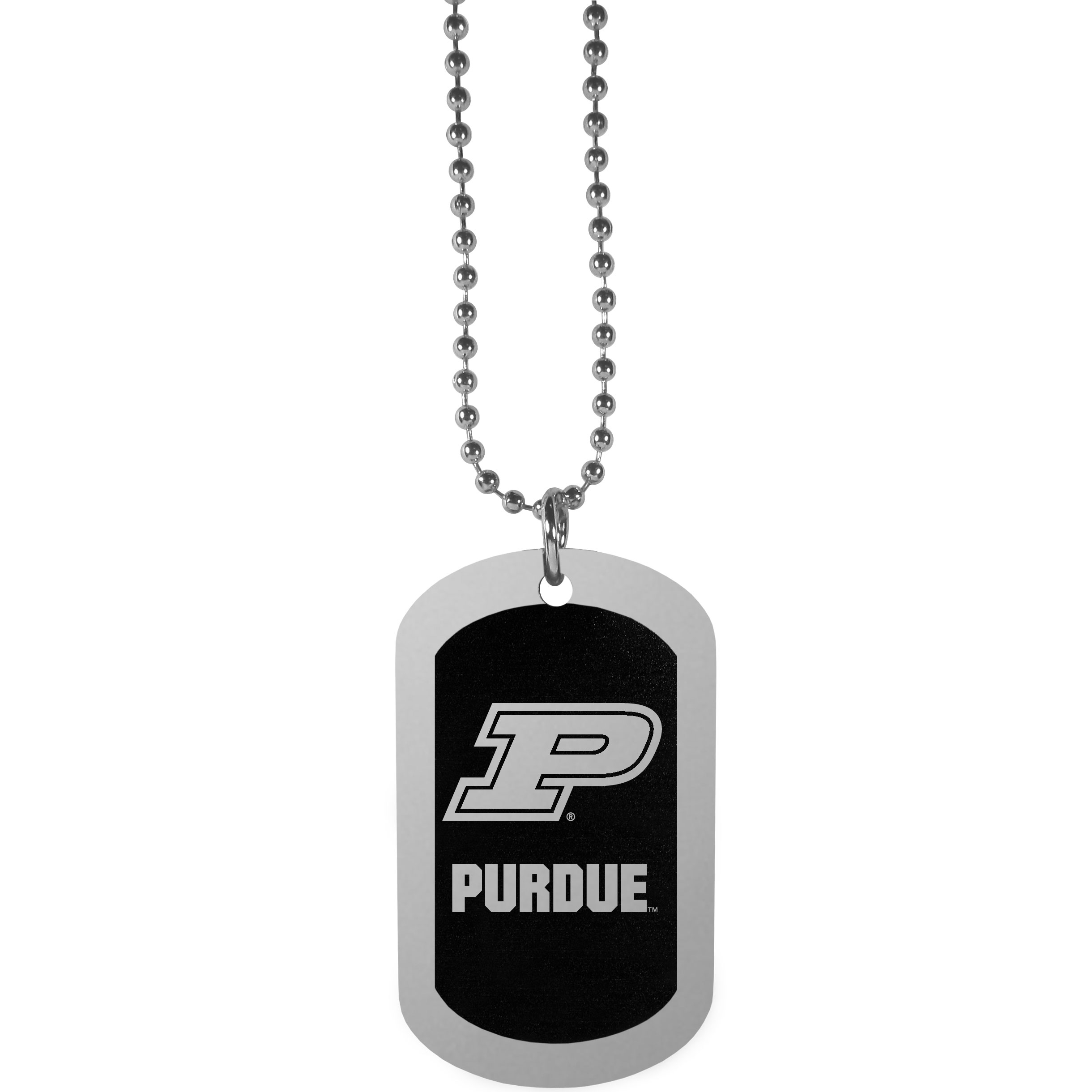 Purdue Boilermakers Chrome Tag Necklace - Dog tag necklaces are a fashion statement that is here to stay. The sporty version of the classic tag features a black printed over a high polish tag to create a bold and sporty look. The tag comes on a 26 inch ball chain with a ball and joint clasp. Any Purdue Boilermakers would be proud to wear this attractive fashion accessory.