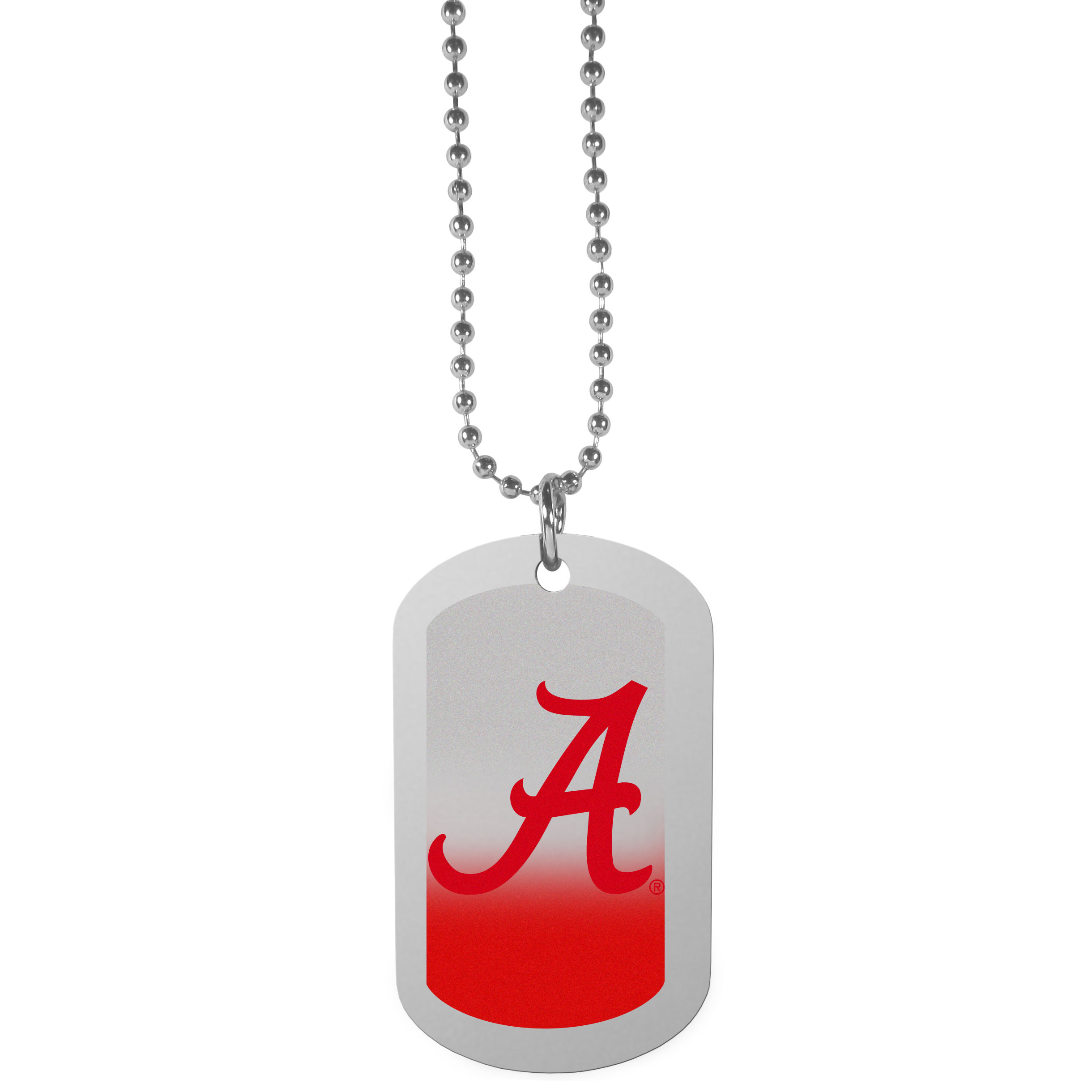 Alabama Crimson Tide Team Tag Necklace - Dog tag necklaces are a fashion statement that is here to stay. The sporty version of the classic tag features a gradient print in team colors featuring a full color team logo over a high polish tag to create a bold and sporty look. The tag comes on a 26 inch ball chain with a ball and joint clasp. Any Alabama Crimson Tide would be proud to wear this attractive fashion accessory.
