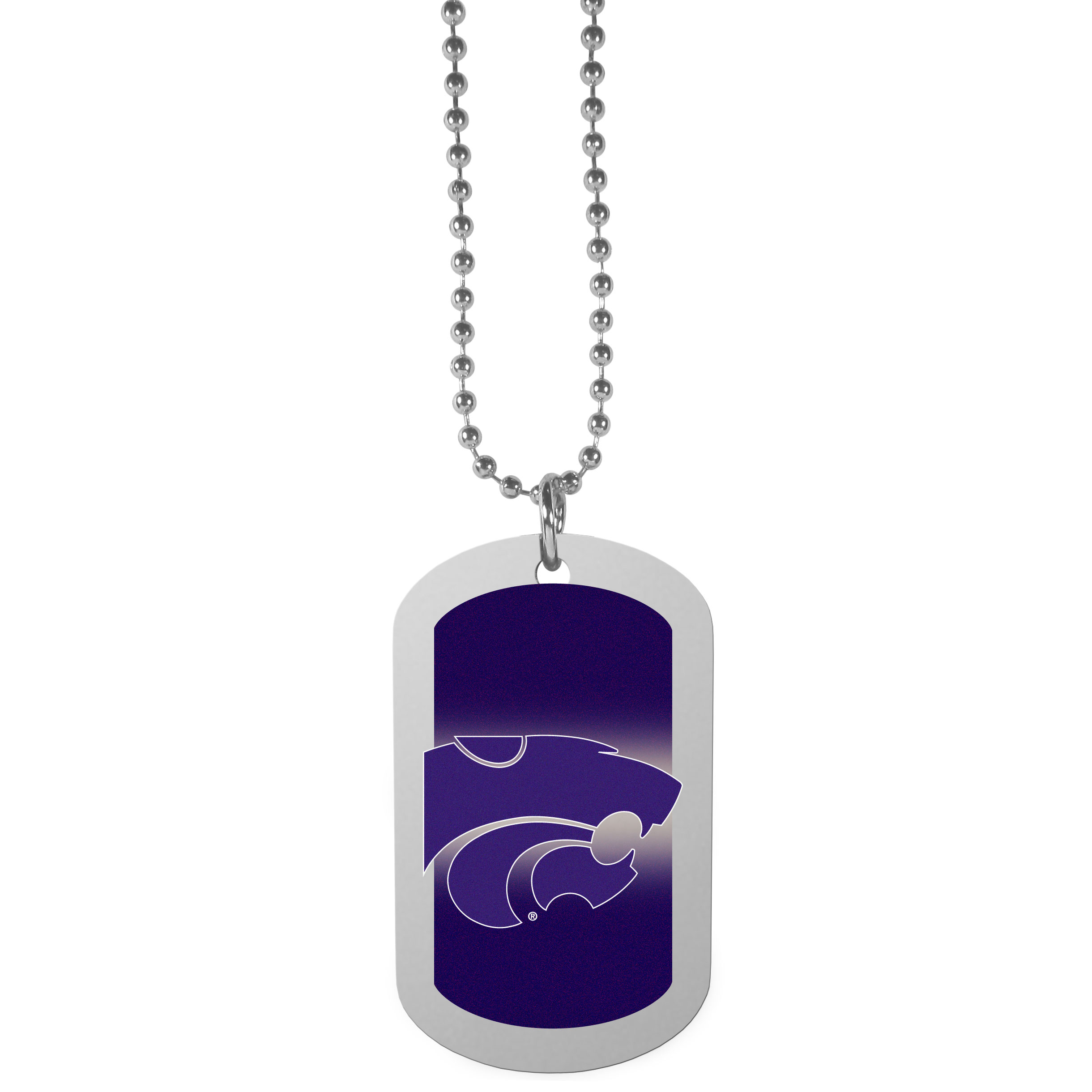Kansas St. Wildcats Team Tag Necklace - Dog tag necklaces are a fashion statement that is here to stay. The sporty version of the classic tag features a gradient print in team colors featuring a full color team logo over a high polish tag to create a bold and sporty look. The tag comes on a 26 inch ball chain with a ball and joint clasp. Any Kansas St. Wildcats would be proud to wear this attractive fashion accessory.