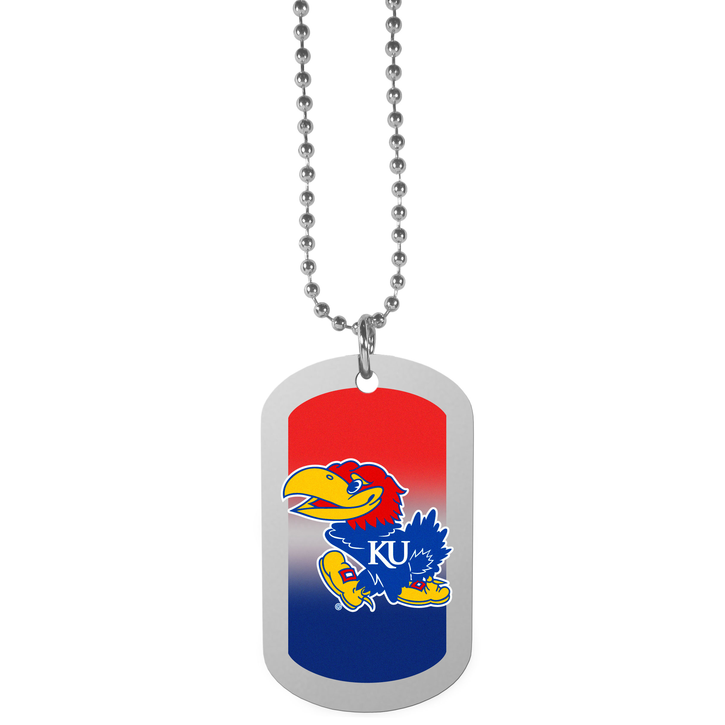 Kansas Jayhawks Team Tag Necklace - Dog tag necklaces are a fashion statement that is here to stay. The sporty version of the classic tag features a gradient print in team colors featuring a full color team logo over a high polish tag to create a bold and sporty look. The tag comes on a 26 inch ball chain with a ball and joint clasp. Any Kansas Jayhawks would be proud to wear this attractive fashion accessory.