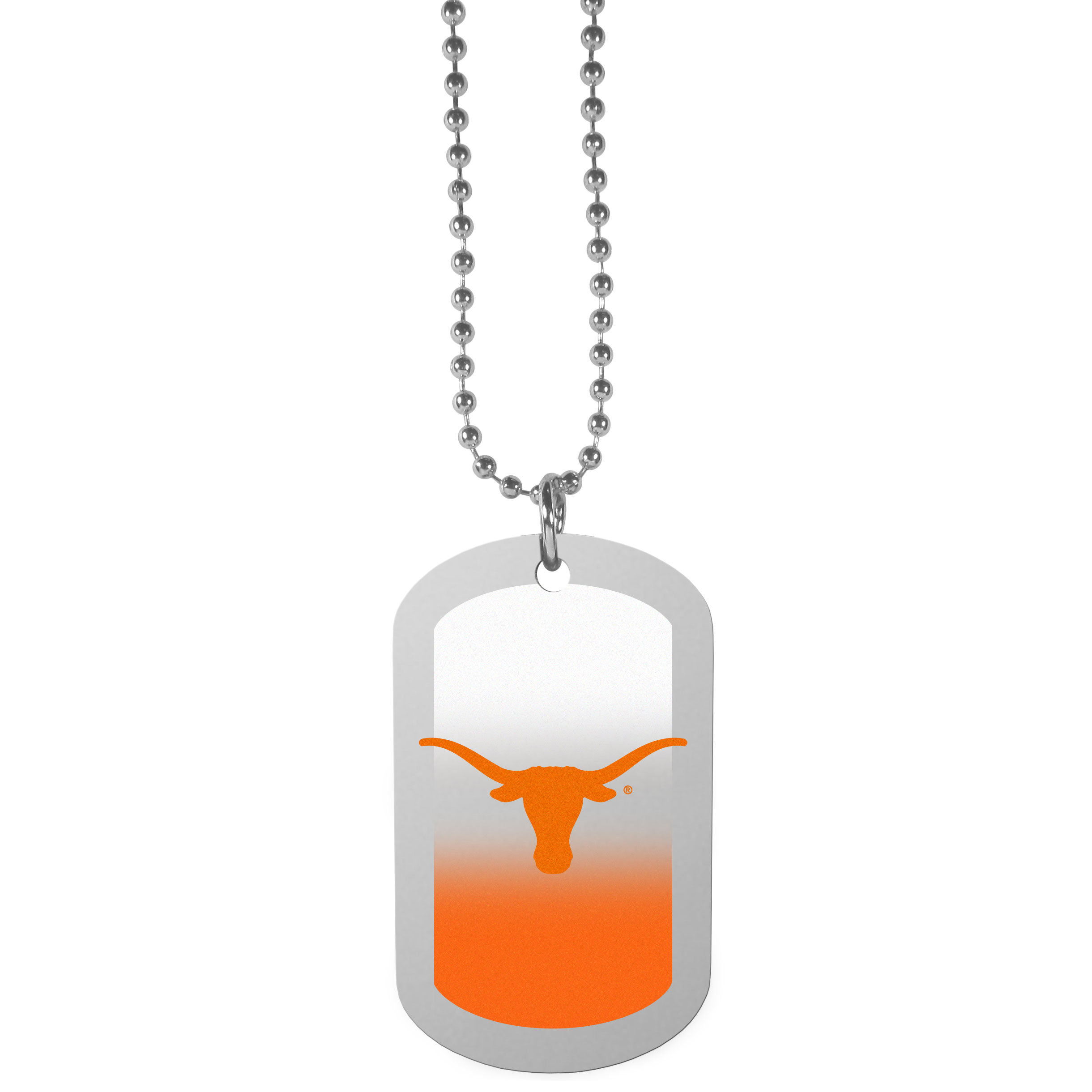 Texas Longhorns Team Tag Necklace - Dog tag necklaces are a fashion statement that is here to stay. The sporty version of the classic tag features a gradient print in team colors featuring a full color team logo over a high polish tag to create a bold and sporty look. The tag comes on a 26 inch ball chain with a ball and joint clasp. Any Texas Longhorns would be proud to wear this attractive fashion accessory.