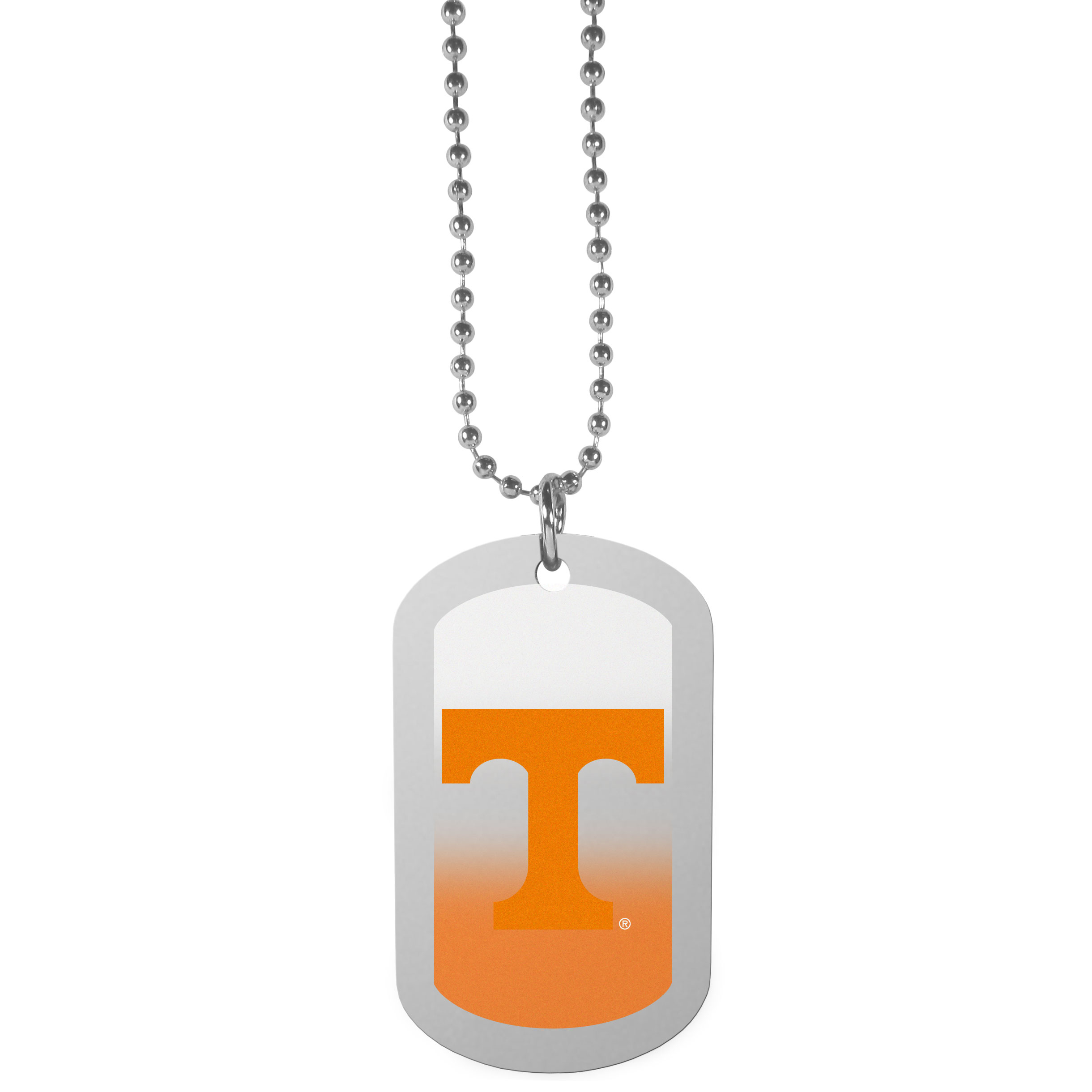 Tennessee Volunteers Team Tag Necklace - Dog tag necklaces are a fashion statement that is here to stay. The sporty version of the classic tag features a gradient print in team colors featuring a full color team logo over a high polish tag to create a bold and sporty look. The tag comes on a 26 inch ball chain with a ball and joint clasp. Any Tennessee Volunteers would be proud to wear this attractive fashion accessory.