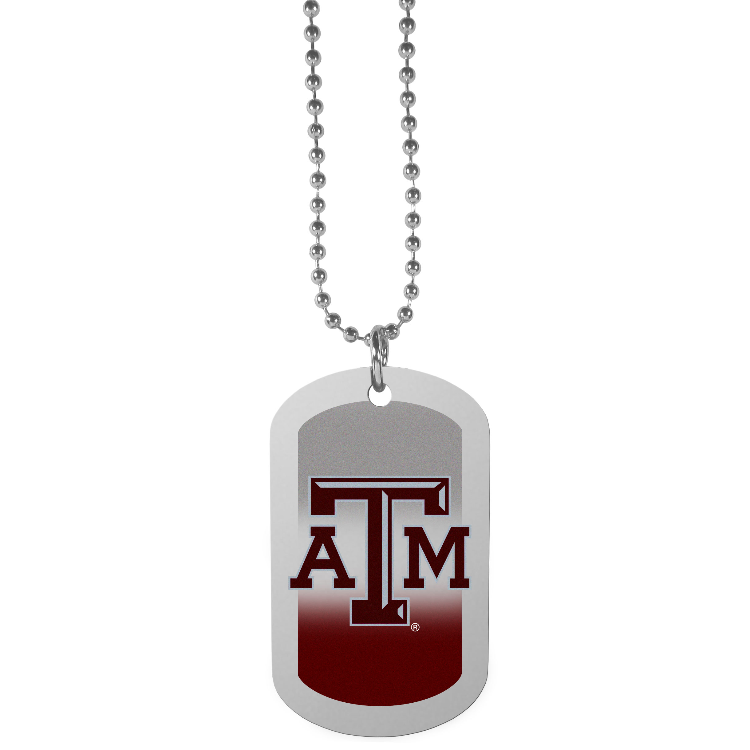 Texas A and M Aggies Team Tag Necklace - Dog tag necklaces are a fashion statement that is here to stay. The sporty version of the classic tag features a gradient print in team colors featuring a full color team logo over a high polish tag to create a bold and sporty look. The tag comes on a 26 inch ball chain with a ball and joint clasp. Any Texas A & M Aggies would be proud to wear this attractive fashion accessory.