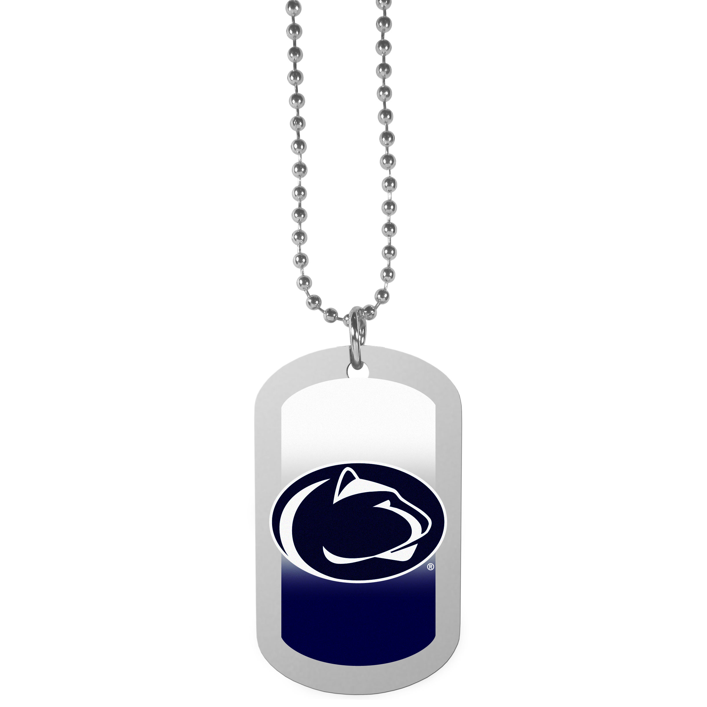 Penn St. Nittany Lions Team Tag Necklace - Dog tag necklaces are a fashion statement that is here to stay. The sporty version of the classic tag features a gradient print in team colors featuring a full color team logo over a high polish tag to create a bold and sporty look. The tag comes on a 26 inch ball chain with a ball and joint clasp. Any Penn St. Nittany Lions would be proud to wear this attractive fashion accessory.