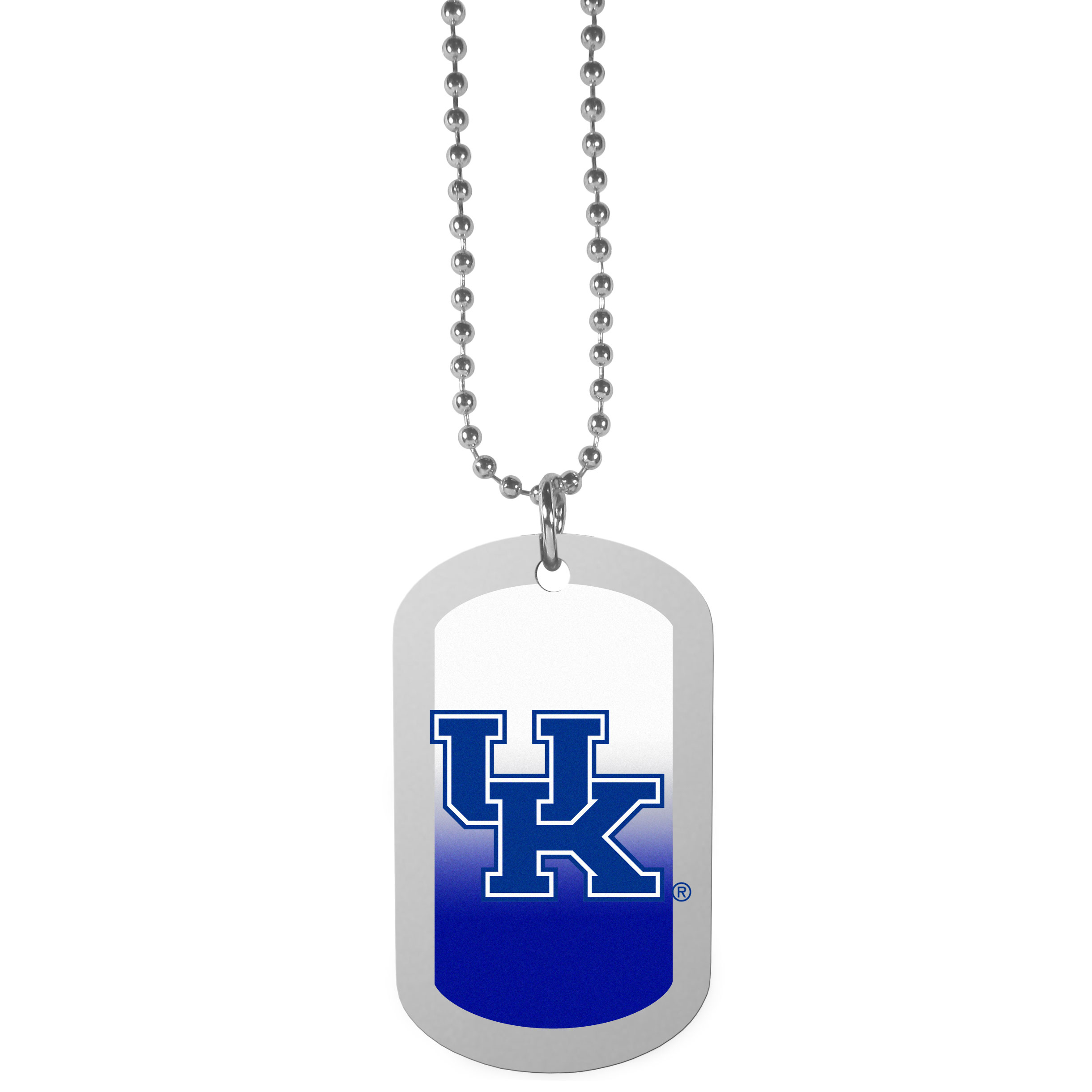 Kentucky Wildcats Team Tag Necklace - Dog tag necklaces are a fashion statement that is here to stay. The sporty version of the classic tag features a gradient print in team colors featuring a full color team logo over a high polish tag to create a bold and sporty look. The tag comes on a 26 inch ball chain with a ball and joint clasp. Any Kentucky Wildcats would be proud to wear this attractive fashion accessory.
