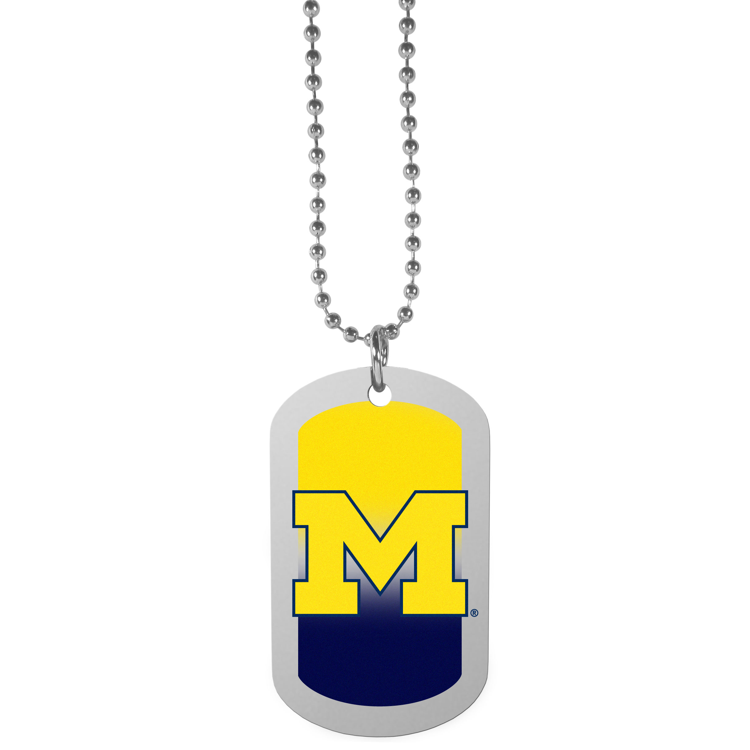 Michigan Wolverines Team Tag Necklace - Dog tag necklaces are a fashion statement that is here to stay. The sporty version of the classic tag features a gradient print in team colors featuring a full color team logo over a high polish tag to create a bold and sporty look. The tag comes on a 26 inch ball chain with a ball and joint clasp. Any Michigan Wolverines would be proud to wear this attractive fashion accessory.