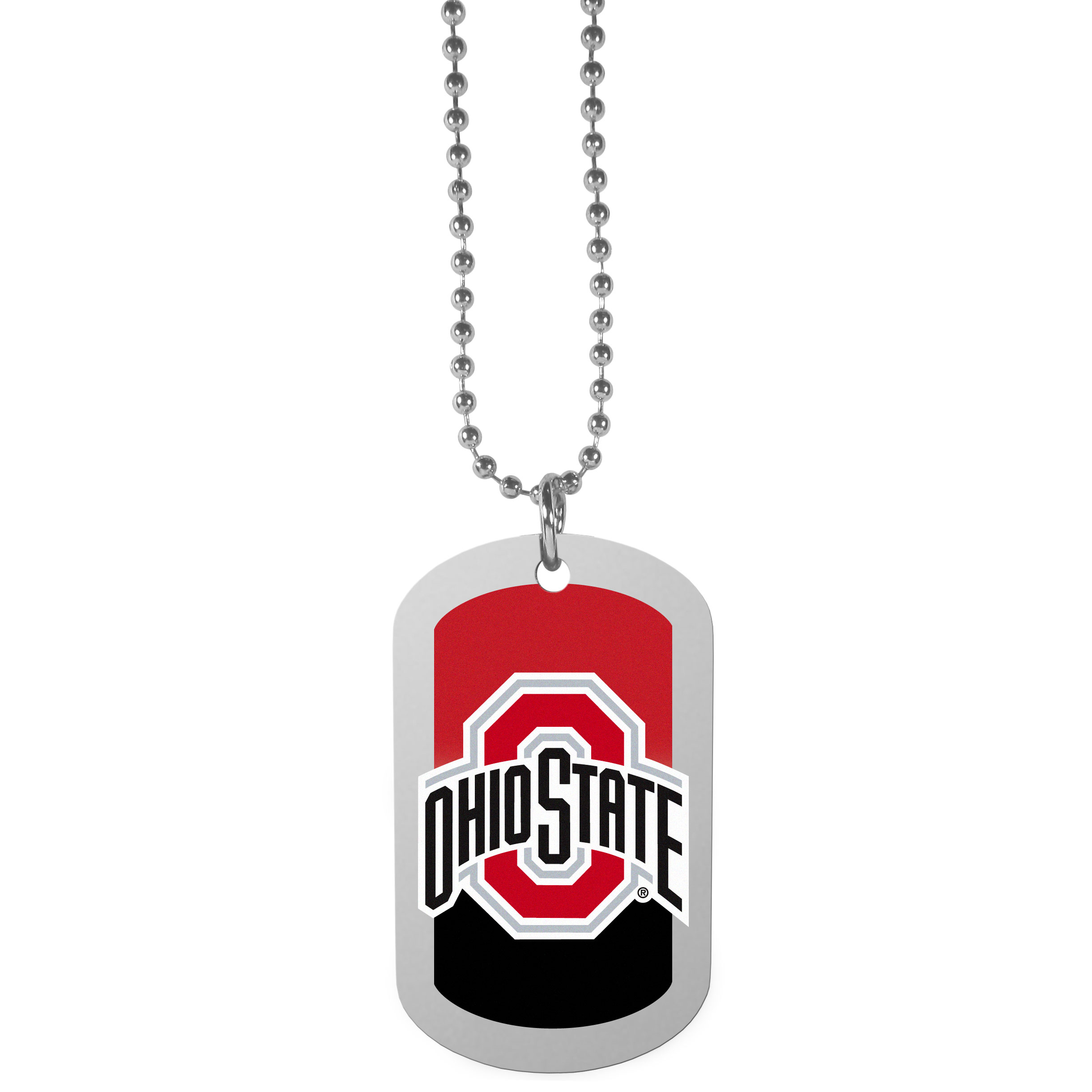 Ohio St. Buckeyes Team Tag Necklace - Dog tag necklaces are a fashion statement that is here to stay. The sporty version of the classic tag features a gradient print in team colors featuring a full color team logo over a high polish tag to create a bold and sporty look. The tag comes on a 26 inch ball chain with a ball and joint clasp. Any Ohio St. Buckeyes would be proud to wear this attractive fashion accessory.