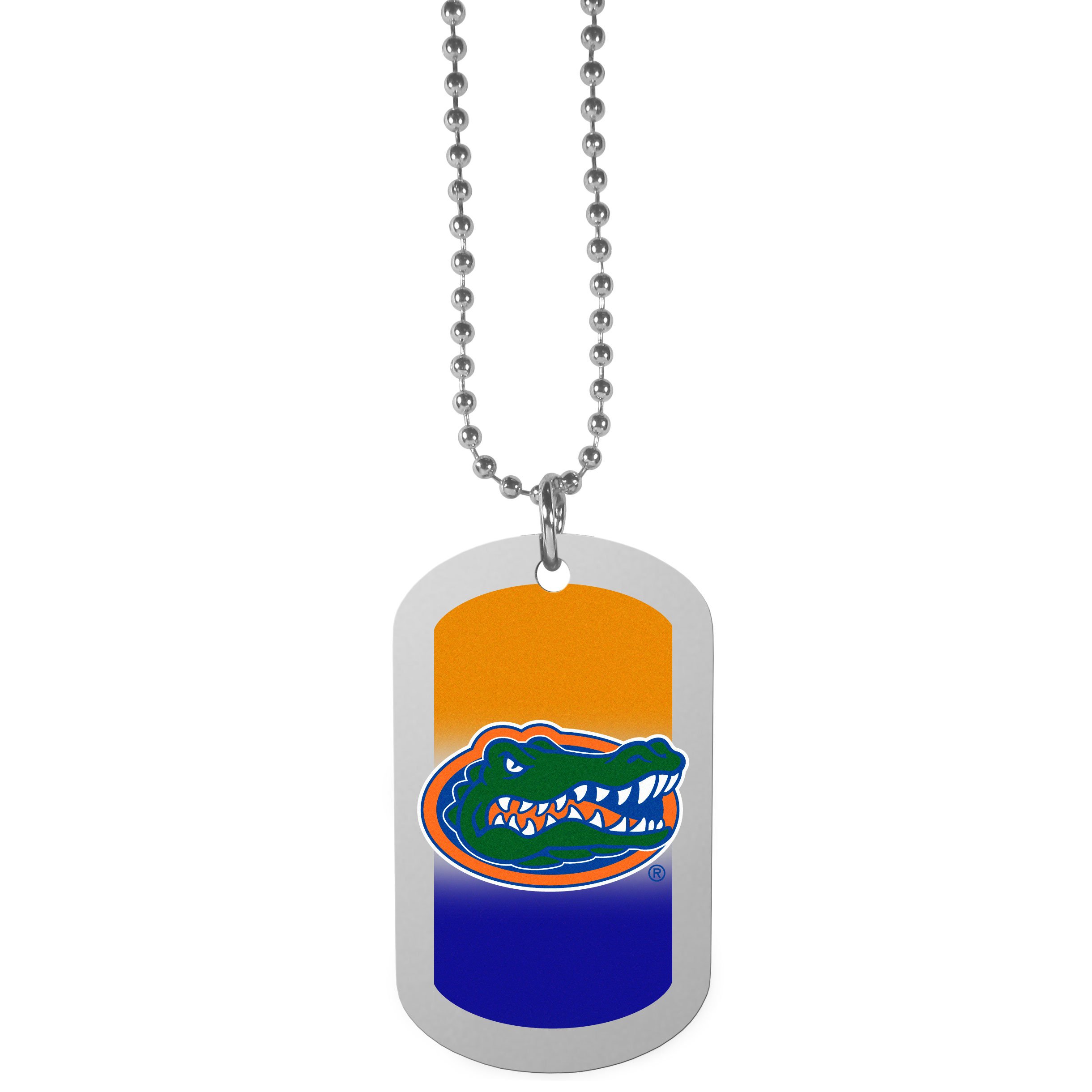 Florida Gators Team Tag Necklace - Dog tag necklaces are a fashion statement that is here to stay. The sporty version of the classic tag features a gradient print in team colors featuring a full color team logo over a high polish tag to create a bold and sporty look. The tag comes on a 26 inch ball chain with a ball and joint clasp. Any Florida Gators would be proud to wear this attractive fashion accessory.