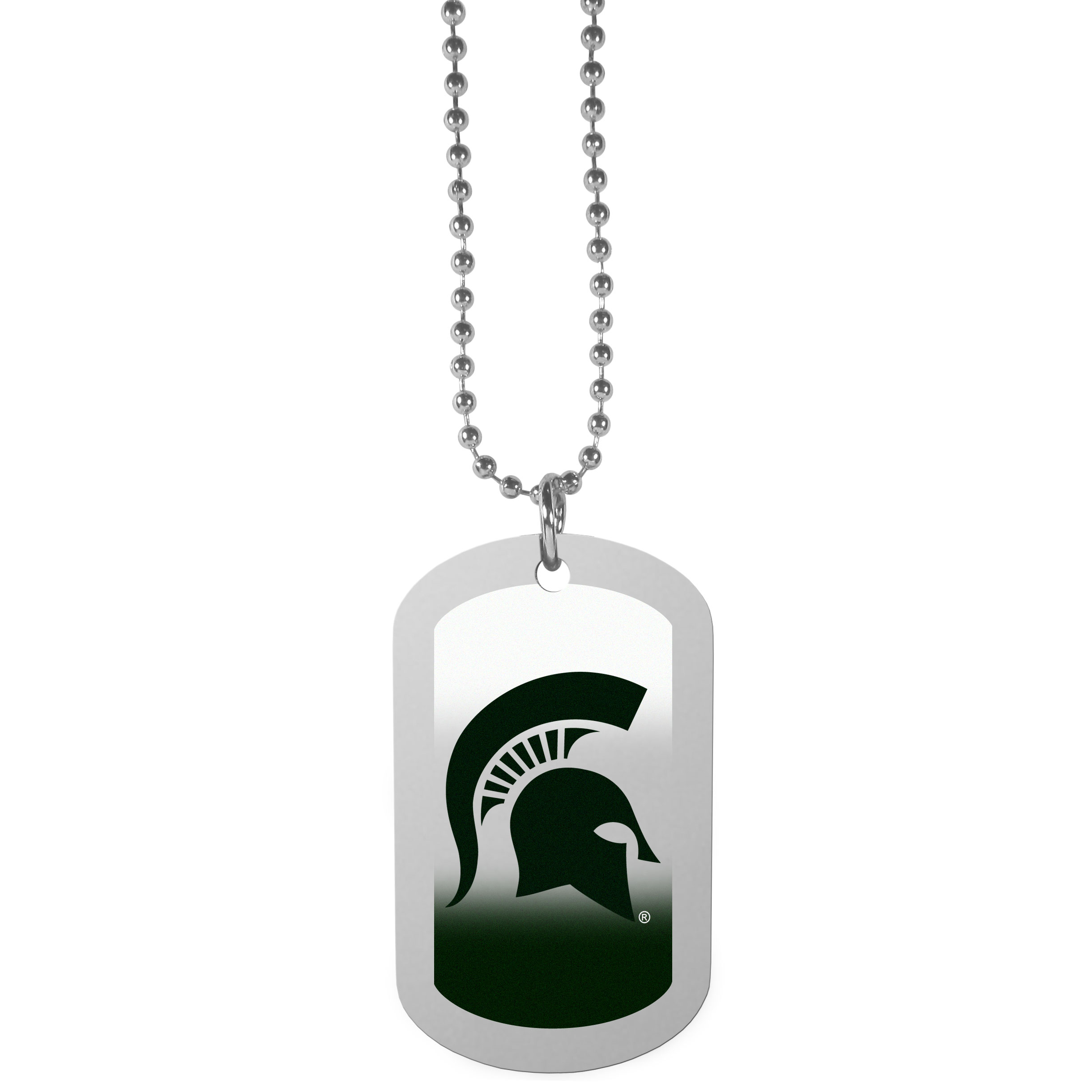 Michigan St. Spartans Team Tag Necklace - Dog tag necklaces are a fashion statement that is here to stay. The sporty version of the classic tag features a gradient print in team colors featuring a full color team logo over a high polish tag to create a bold and sporty look. The tag comes on a 26 inch ball chain with a ball and joint clasp. Any Michigan St. Spartans would be proud to wear this attractive fashion accessory.