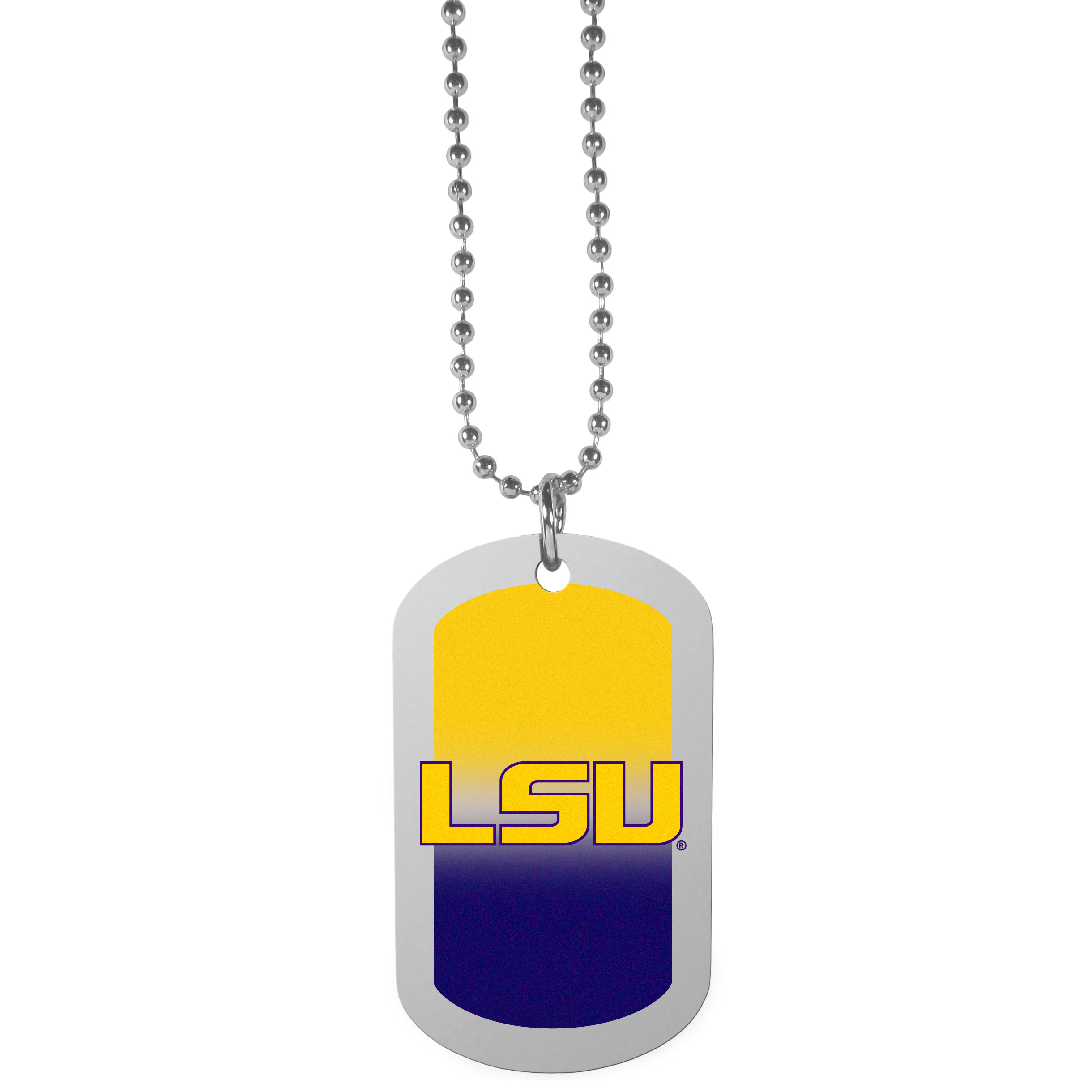 LSU Tigers Team Tag Necklace - Dog tag necklaces are a fashion statement that is here to stay. The sporty version of the classic tag features a gradient print in team colors featuring a full color team logo over a high polish tag to create a bold and sporty look. The tag comes on a 26 inch ball chain with a ball and joint clasp. Any LSU Tigers would be proud to wear this attractive fashion accessory.