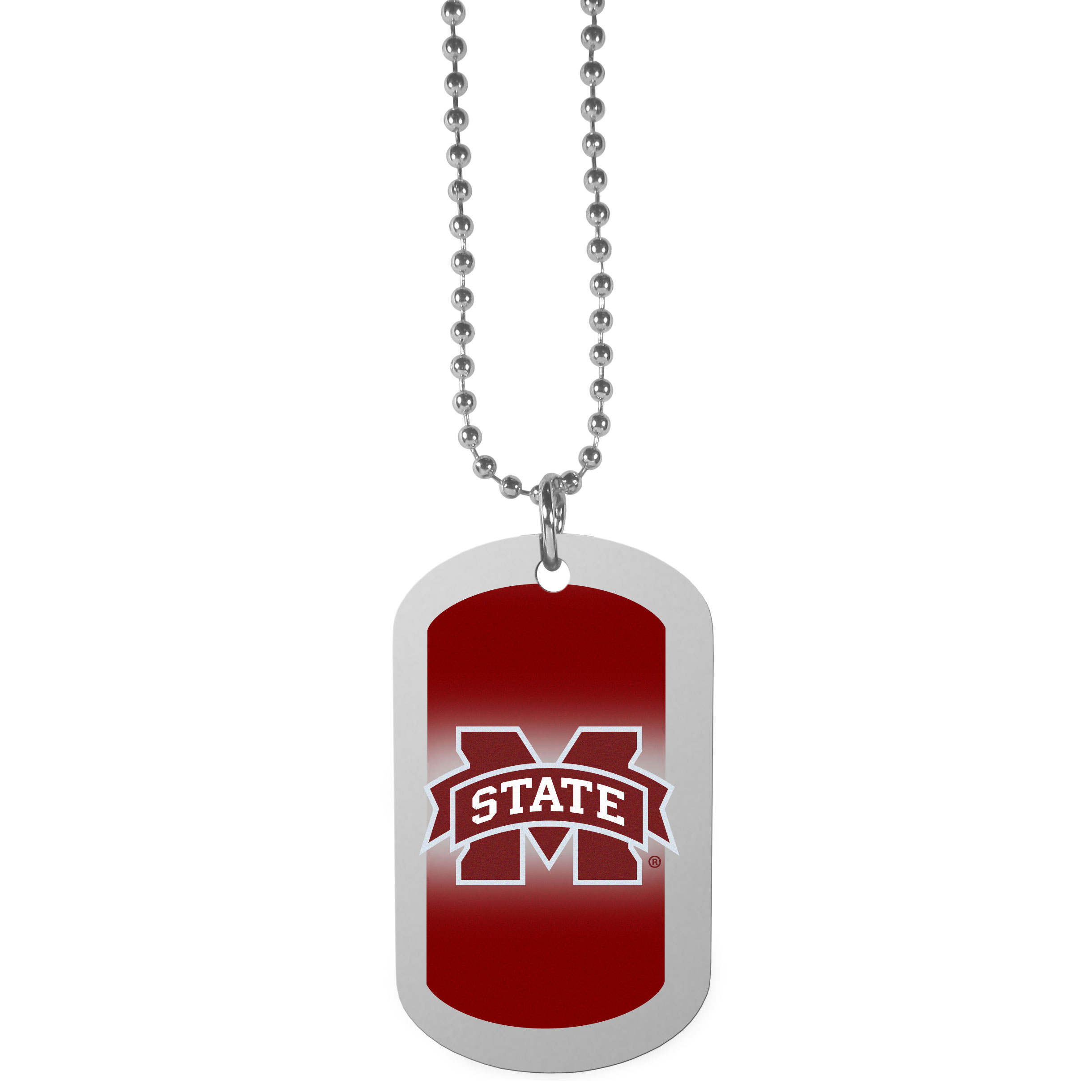 Mississippi St. Bulldogs Team Tag Necklace - Dog tag necklaces are a fashion statement that is here to stay. The sporty version of the classic tag features a gradient print in team colors featuring a full color team logo over a high polish tag to create a bold and sporty look. The tag comes on a 26 inch ball chain with a ball and joint clasp. Any Mississippi St. Bulldogs would be proud to wear this attractive fashion accessory.