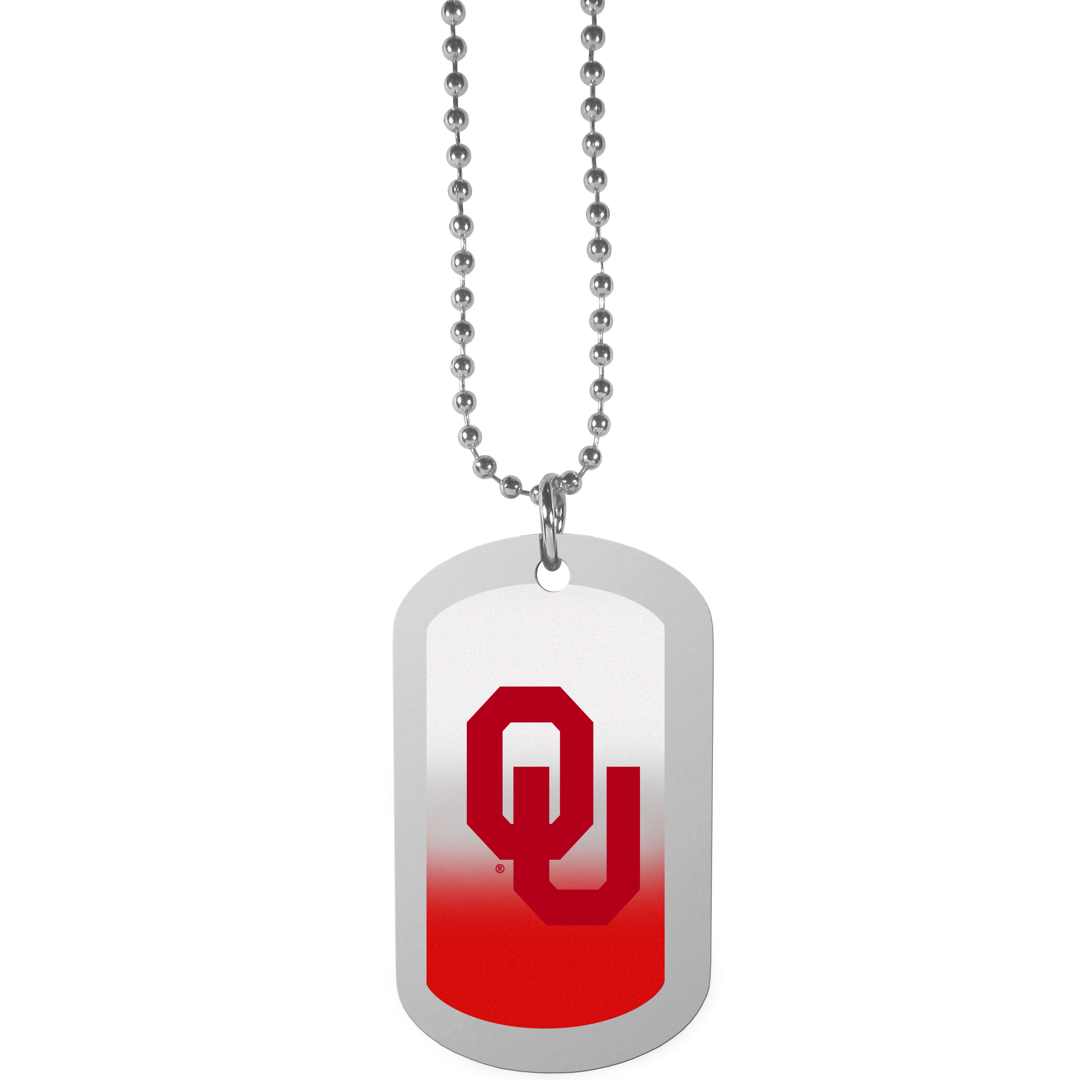 Oklahoma Sooners Team Tag Necklace - Dog tag necklaces are a fashion statement that is here to stay. The sporty version of the classic tag features a gradient print in team colors featuring a full color team logo over a high polish tag to create a bold and sporty look. The tag comes on a 26 inch ball chain with a ball and joint clasp. Any Oklahoma Sooners would be proud to wear this attractive fashion accessory.