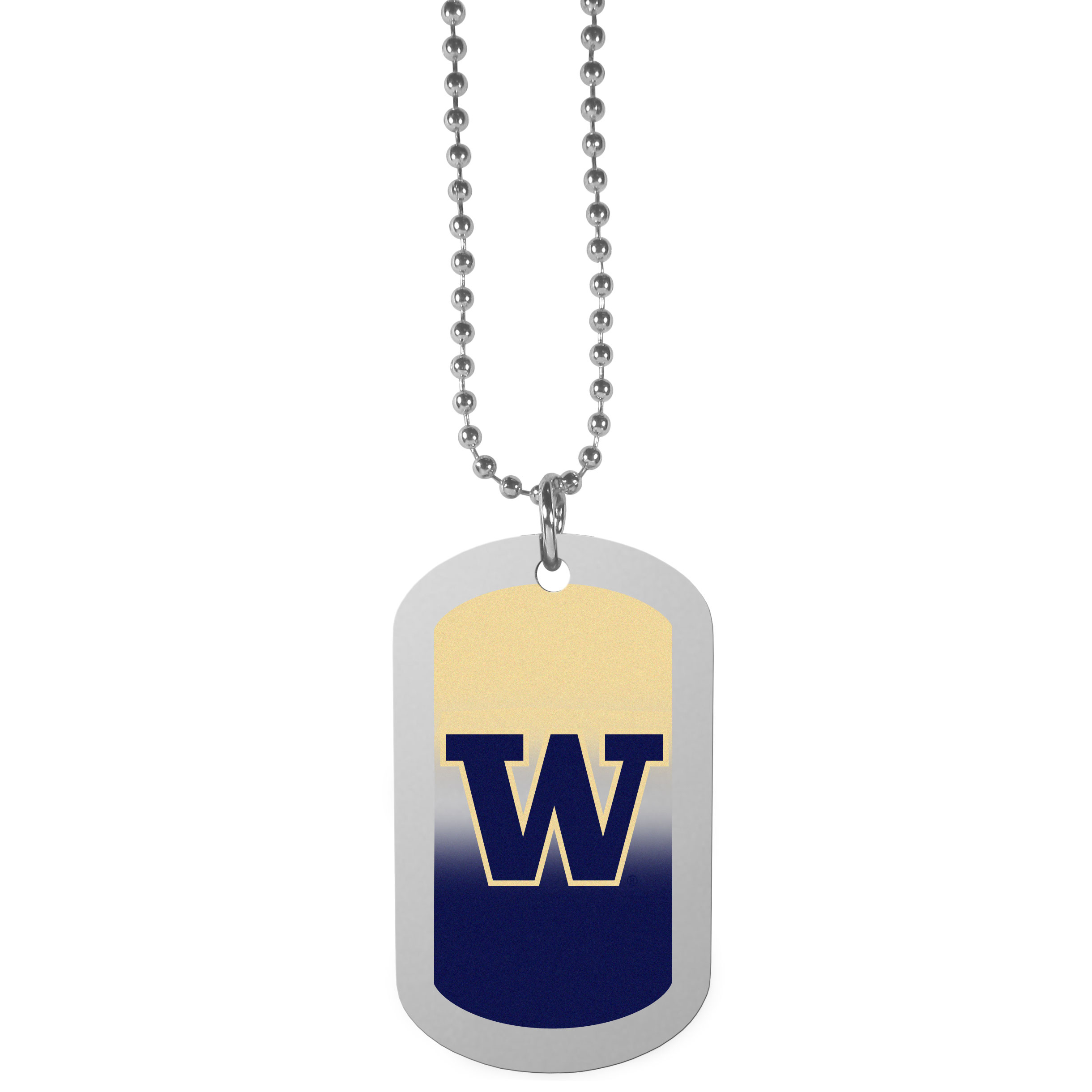 Washington Huskies Team Tag Necklace - Dog tag necklaces are a fashion statement that is here to stay. The sporty version of the classic tag features a gradient print in team colors featuring a full color team logo over a high polish tag to create a bold and sporty look. The tag comes on a 26 inch ball chain with a ball and joint clasp. Any Washington Huskies would be proud to wear this attractive fashion accessory.