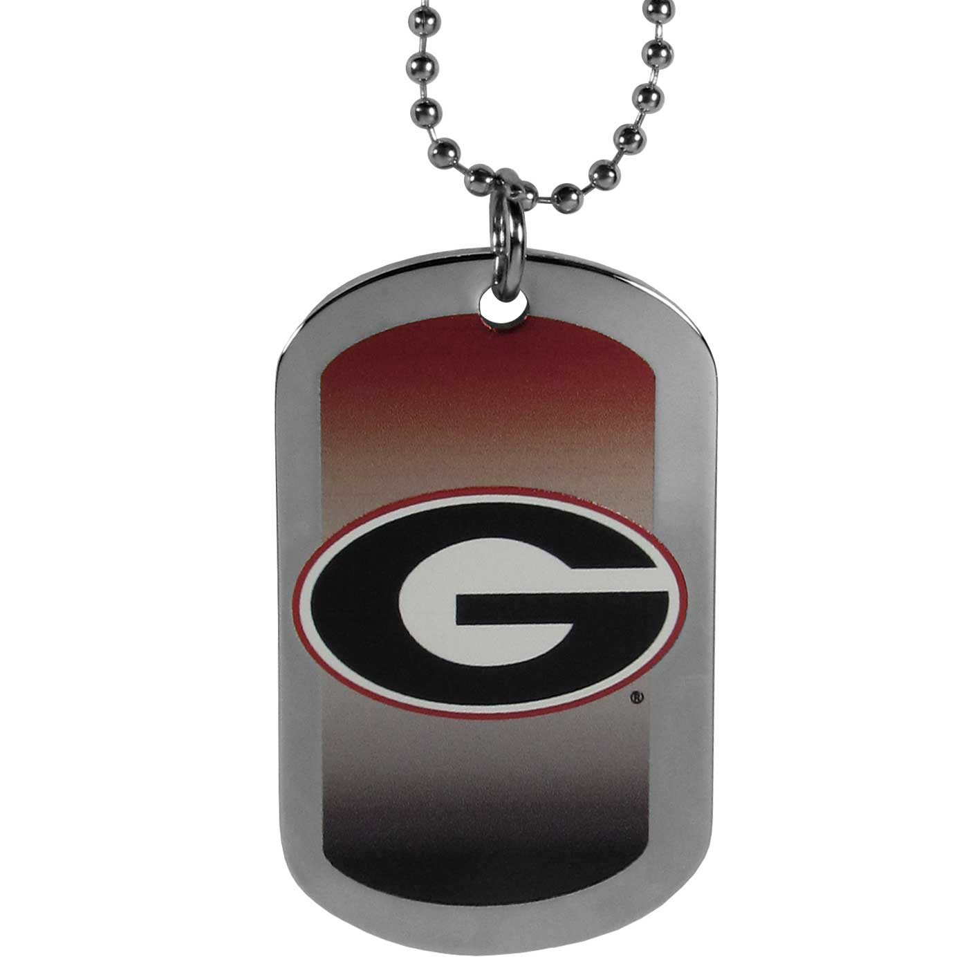 Georgia Bulldogs Team Tag Necklace - Dog tag necklaces are a fashion statement that is here to stay. The sporty version of the classic tag features a gradient print in team colors featuring a full color team logo over a high polish tag to create a bold and sporty look. The tag comes on a 26 inch ball chain with a ball and joint clasp. Any Georgia Bulldogs would be proud to wear this attractive fashion accessory.