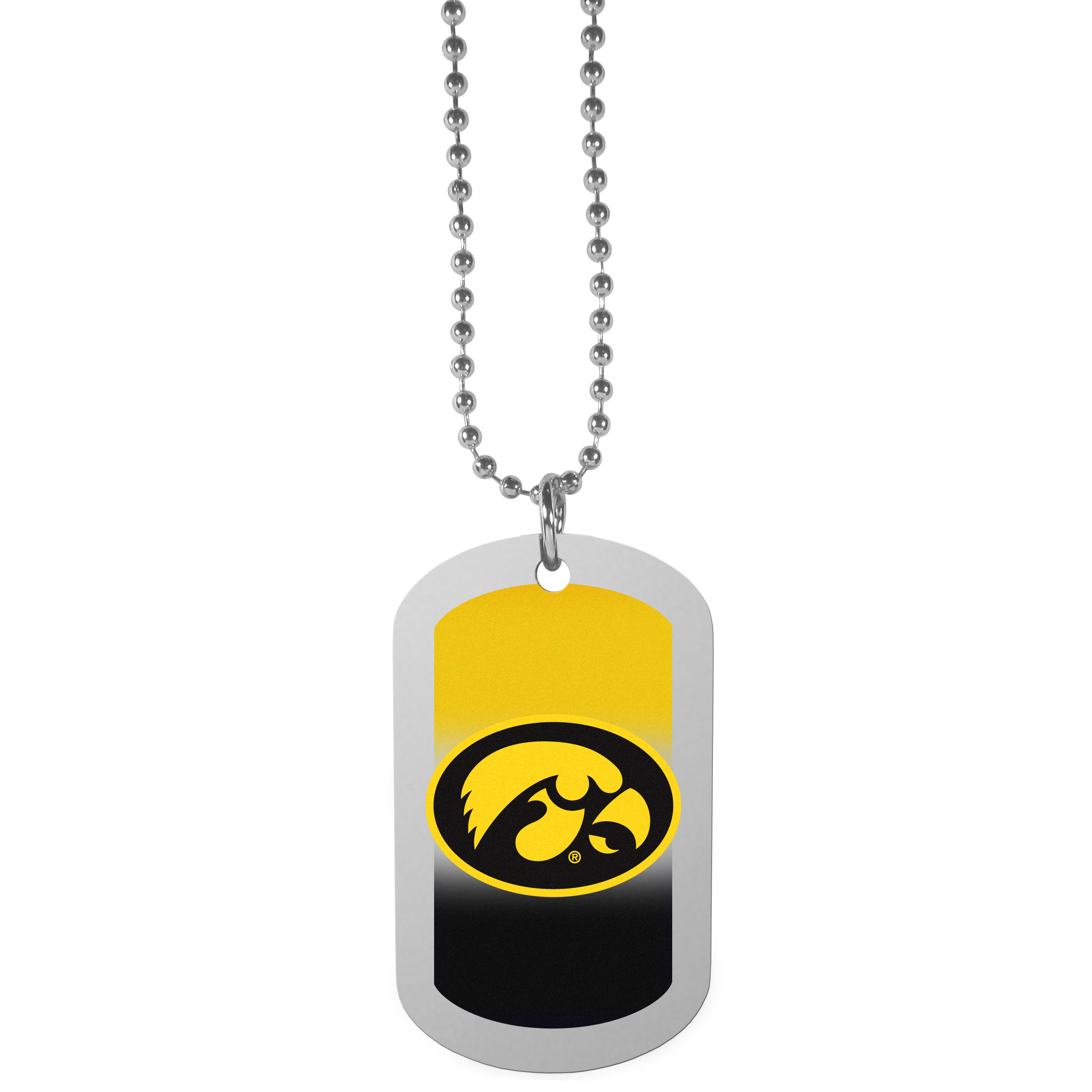 Iowa Hawkeyes Team Tag Necklace - Dog tag necklaces are a fashion statement that is here to stay. The sporty version of the classic tag features a gradient print in team colors featuring a full color team logo over a high polish tag to create a bold and sporty look. The tag comes on a 26 inch ball chain with a ball and joint clasp. Any Iowa Hawkeyes would be proud to wear this attractive fashion accessory.