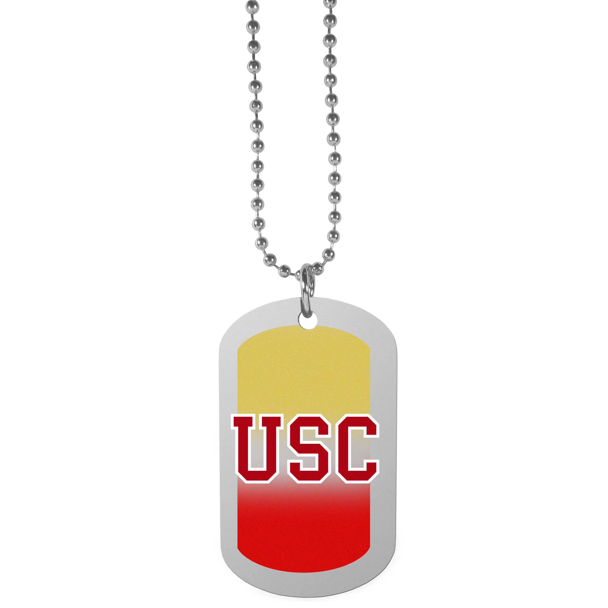 USC Trojans Team Tag Necklace - Dog tag necklaces are a fashion statement that is here to stay. The sporty version of the classic tag features a gradient print in team colors featuring a full color team logo over a high polish tag to create a bold and sporty look. The tag comes on a 26 inch ball chain with a ball and joint clasp. Any USC Trojans would be proud to wear this attractive fashion accessory.