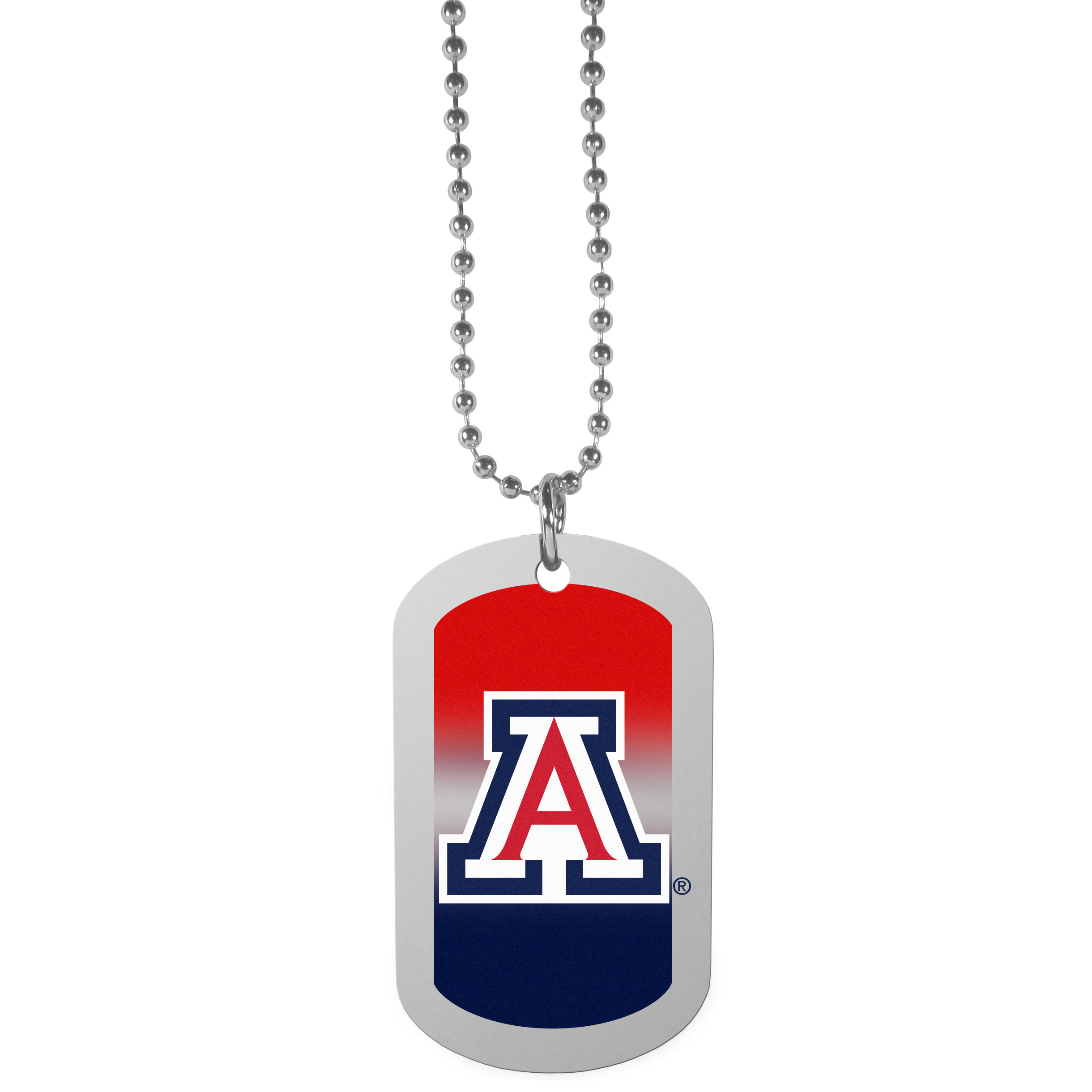 Arizona Wildcats Team Tag Necklace - Dog tag necklaces are a fashion statement that is here to stay. The sporty version of the classic tag features a gradient print in team colors featuring a full color team logo over a high polish tag to create a bold and sporty look. The tag comes on a 26 inch ball chain with a ball and joint clasp. Any Arizona Wildcats would be proud to wear this attractive fashion accessory.