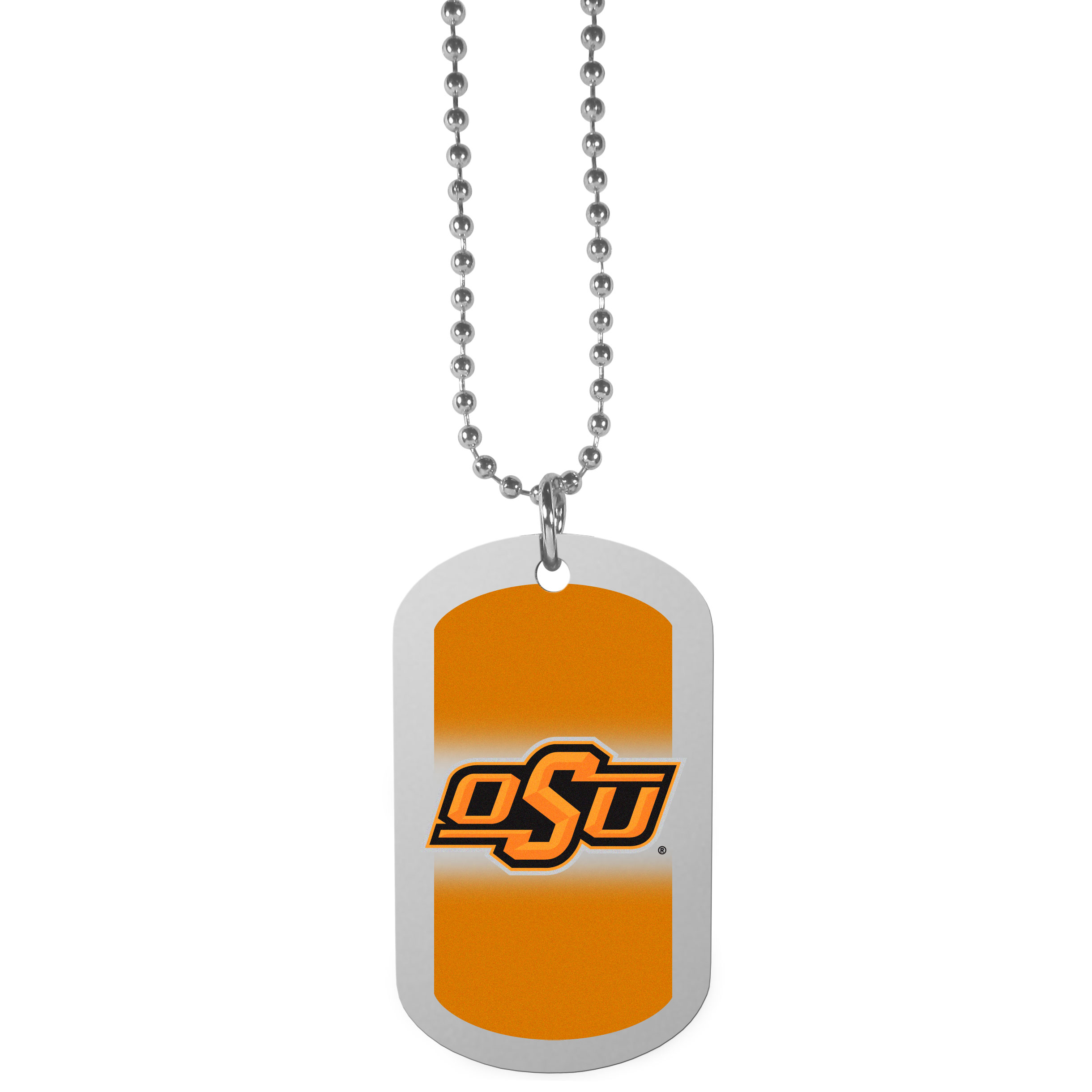 Oklahoma St. Cowboys Team Tag Necklace - Dog tag necklaces are a fashion statement that is here to stay. The sporty version of the classic tag features a gradient print in team colors featuring a full color team logo over a high polish tag to create a bold and sporty look. The tag comes on a 26 inch ball chain with a ball and joint clasp. Any Oklahoma St. Cowboys would be proud to wear this attractive fashion accessory.