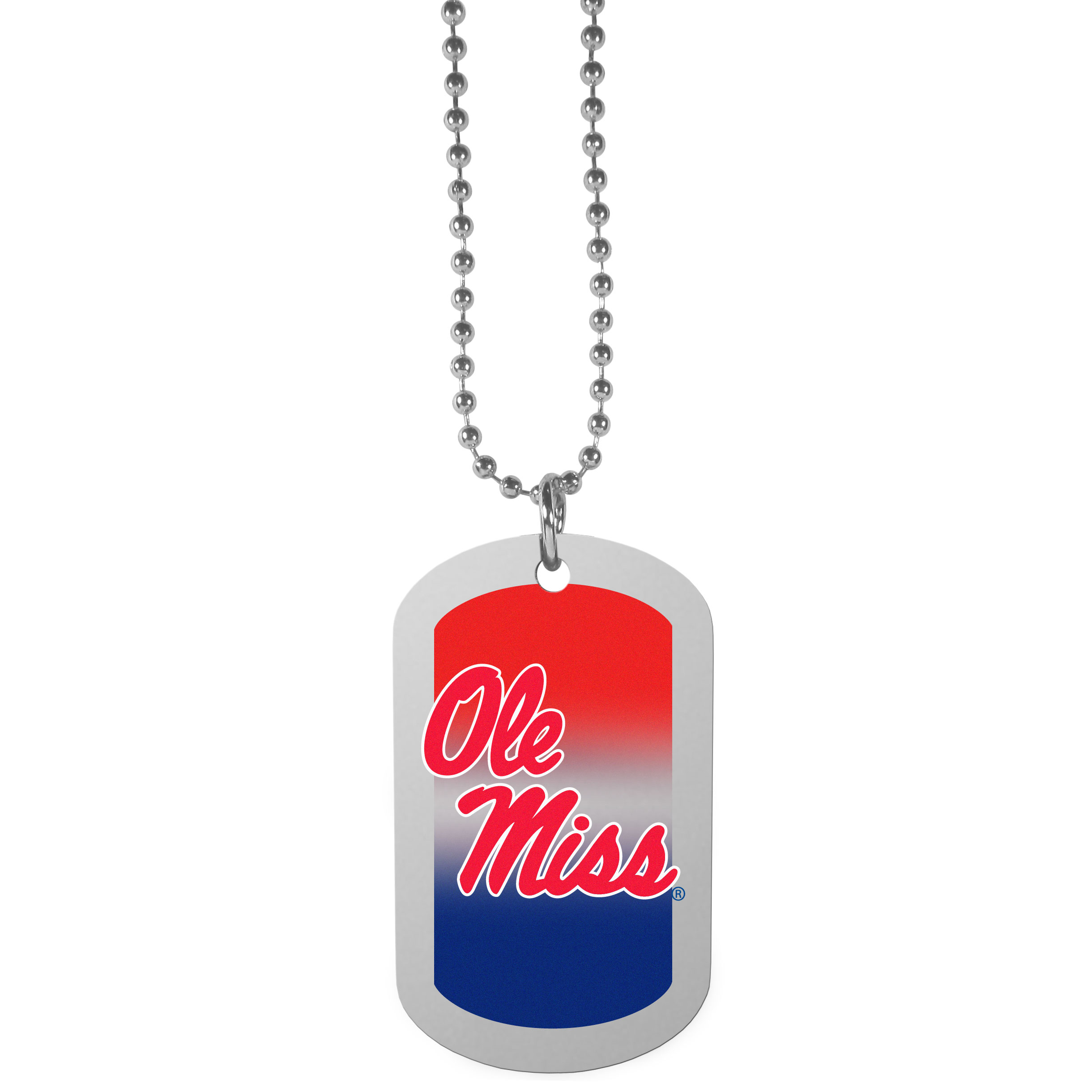 Mississippi Rebels Team Tag Necklace - Dog tag necklaces are a fashion statement that is here to stay. The sporty version of the classic tag features a gradient print in team colors featuring a full color team logo over a high polish tag to create a bold and sporty look. The tag comes on a 26 inch ball chain with a ball and joint clasp. Any Mississippi Rebels would be proud to wear this attractive fashion accessory.