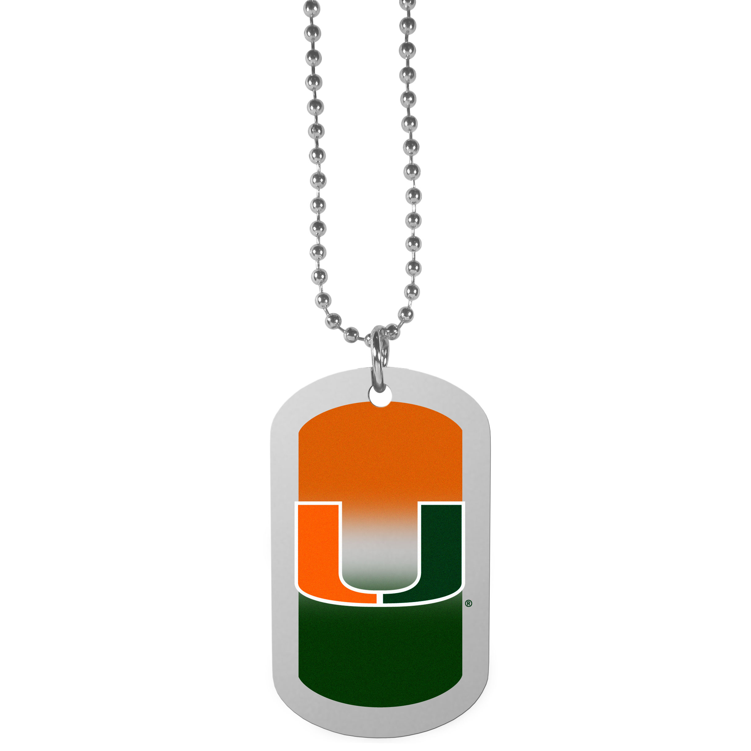 Miami Hurricanes Team Tag Necklace - Dog tag necklaces are a fashion statement that is here to stay. The sporty version of the classic tag features a gradient print in team colors featuring a full color team logo over a high polish tag to create a bold and sporty look. The tag comes on a 26 inch ball chain with a ball and joint clasp. Any Miami Hurricanes would be proud to wear this attractive fashion accessory.