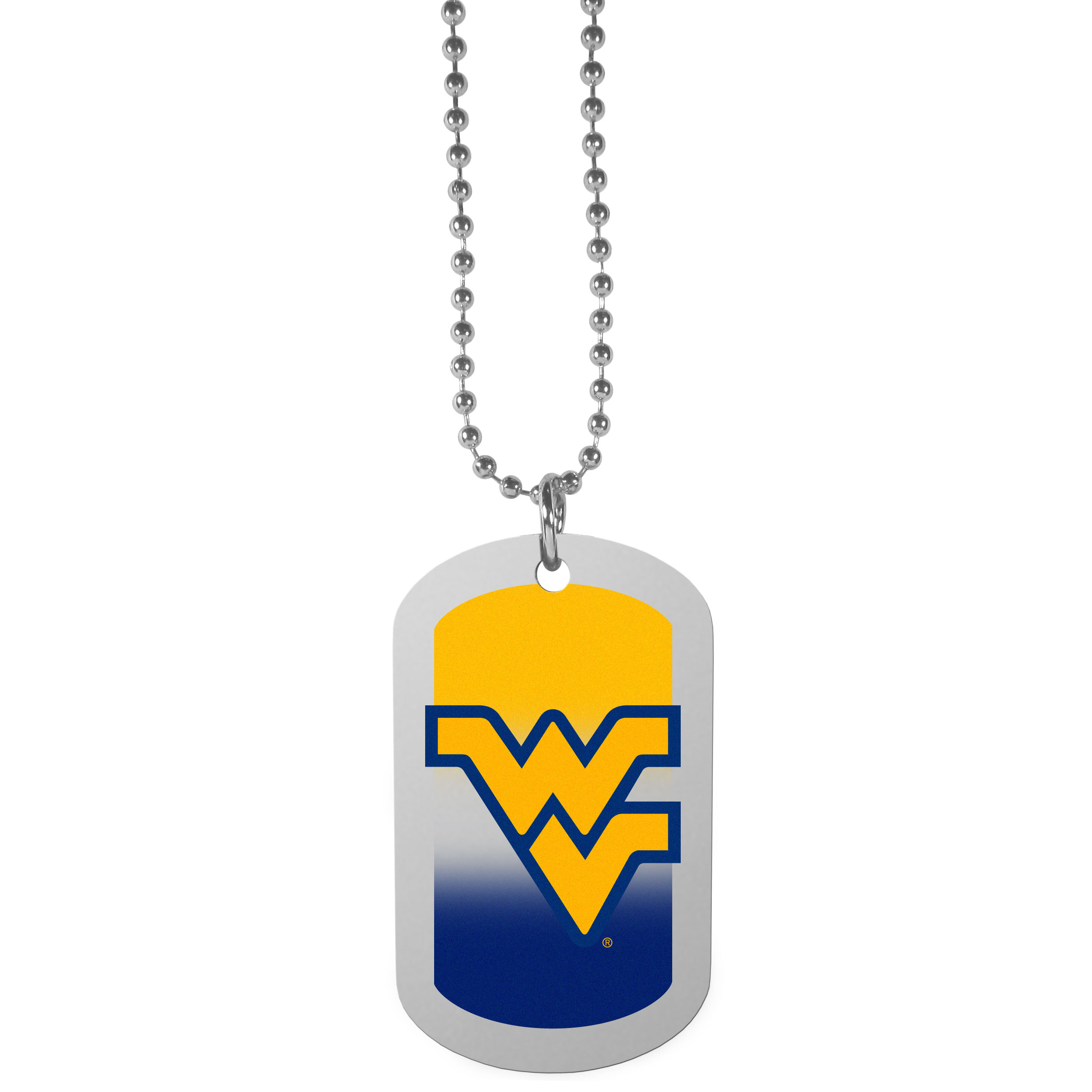 W. Virginia Mountaineers Team Tag Necklace - Dog tag necklaces are a fashion statement that is here to stay. The sporty version of the classic tag features a gradient print in team colors featuring a full color team logo over a high polish tag to create a bold and sporty look. The tag comes on a 26 inch ball chain with a ball and joint clasp. Any W. Virginia Mountaineers would be proud to wear this attractive fashion accessory.