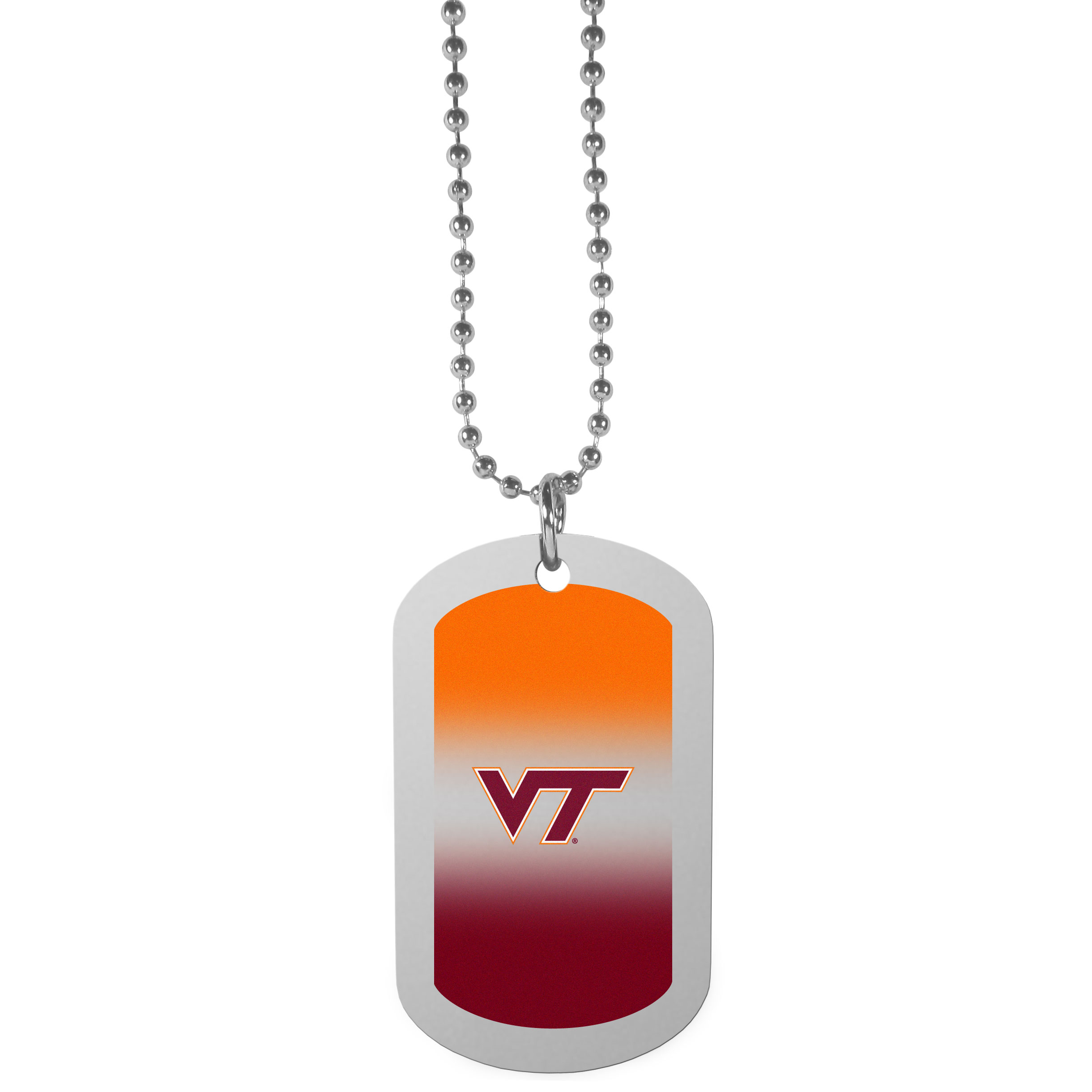 Virginia Tech Hokies Team Tag Necklace - Dog tag necklaces are a fashion statement that is here to stay. The sporty version of the classic tag features a gradient print in team colors featuring a full color team logo over a high polish tag to create a bold and sporty look. The tag comes on a 26 inch ball chain with a ball and joint clasp. Any Virginia Tech Hokies would be proud to wear this attractive fashion accessory.