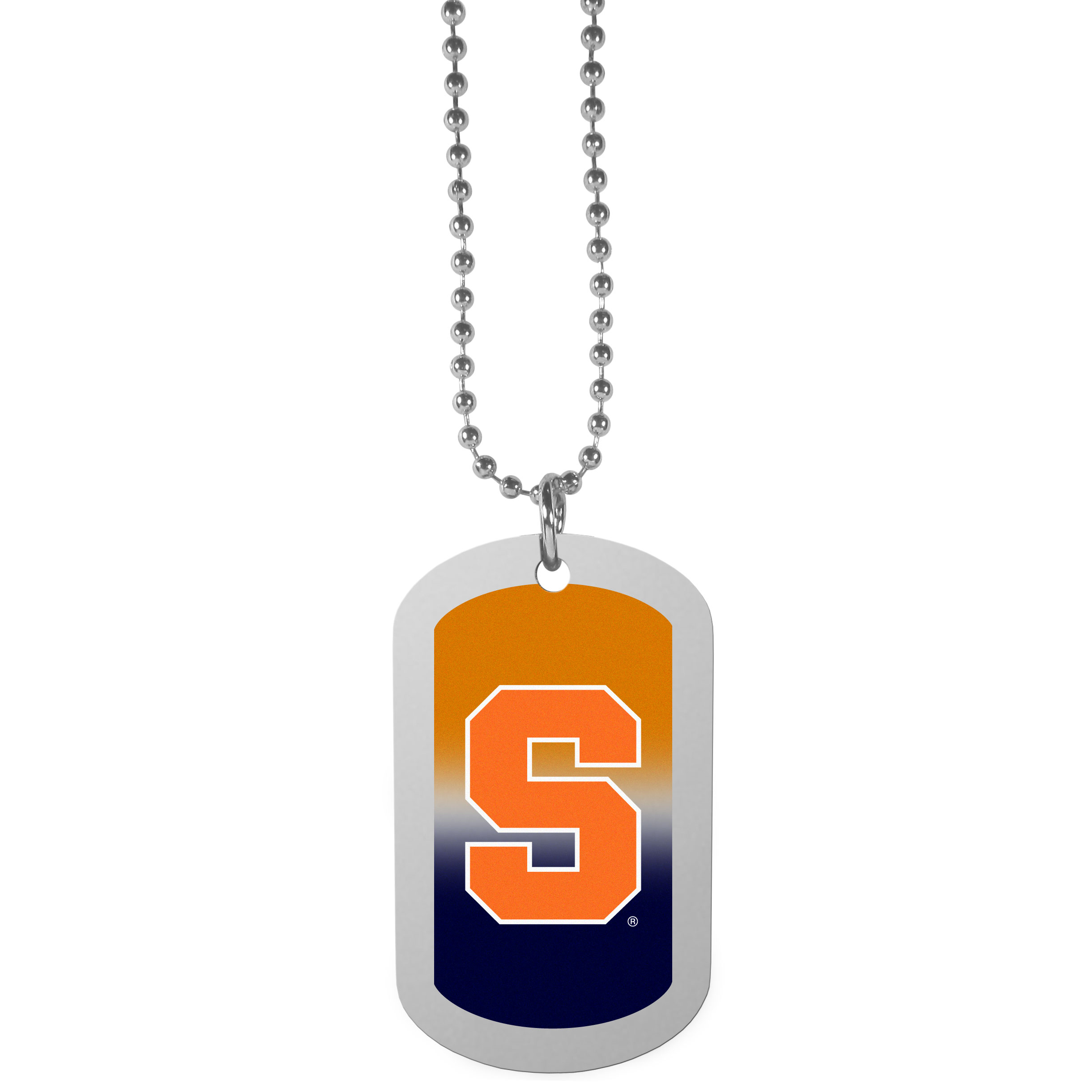 Syracuse Orange Team Tag Necklace - Dog tag necklaces are a fashion statement that is here to stay. The sporty version of the classic tag features a gradient print in team colors featuring a full color team logo over a high polish tag to create a bold and sporty look. The tag comes on a 26 inch ball chain with a ball and joint clasp. Any Syracuse Orange would be proud to wear this attractive fashion accessory.