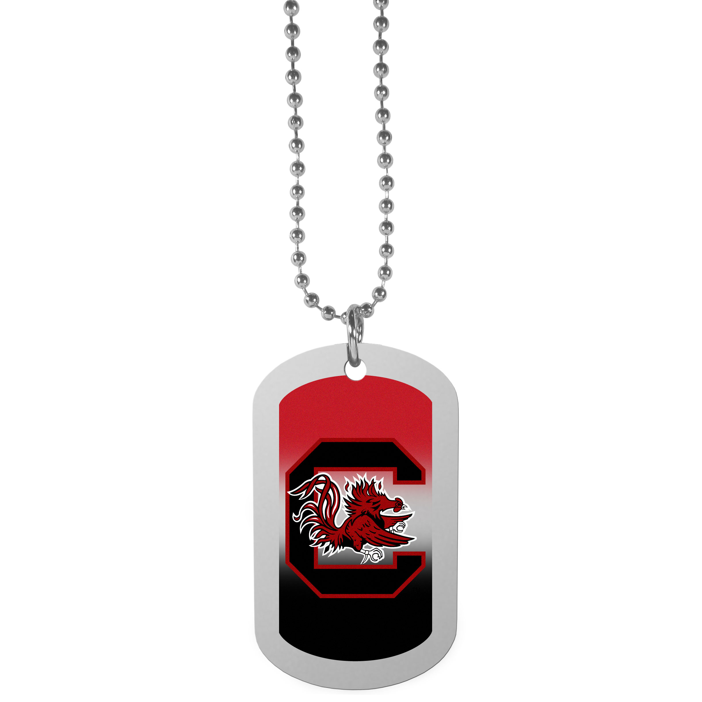 S. Carolina Gamecocks Team Tag Necklace - Dog tag necklaces are a fashion statement that is here to stay. The sporty version of the classic tag features a gradient print in team colors featuring a full color team logo over a high polish tag to create a bold and sporty look. The tag comes on a 26 inch ball chain with a ball and joint clasp. Any S. Carolina Gamecocks would be proud to wear this attractive fashion accessory.