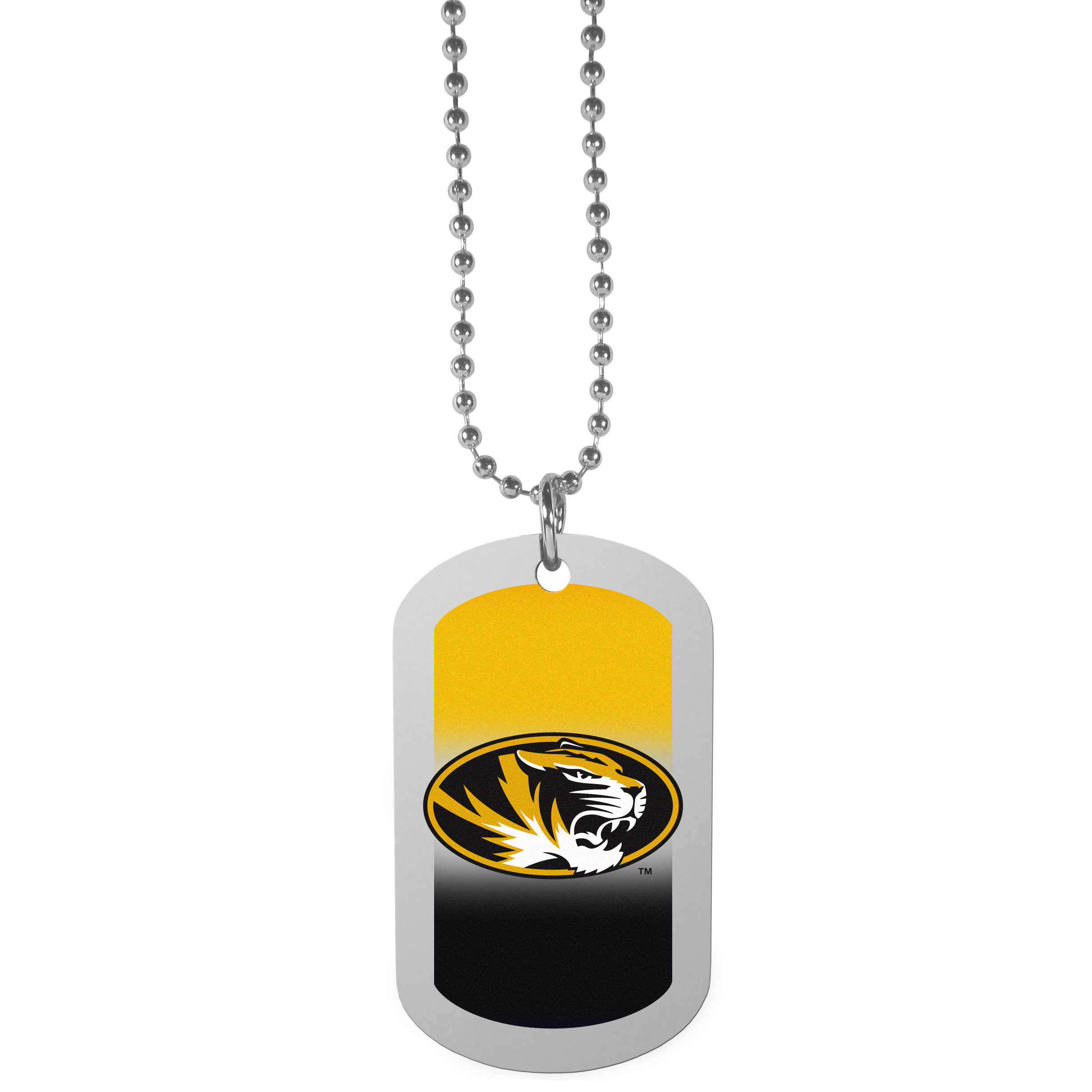 Missouri Tigers Team Tag Necklace - Dog tag necklaces are a fashion statement that is here to stay. The sporty version of the classic tag features a gradient print in team colors featuring a full color team logo over a high polish tag to create a bold and sporty look. The tag comes on a 26 inch ball chain with a ball and joint clasp. Any Missouri Tigers would be proud to wear this attractive fashion accessory.
