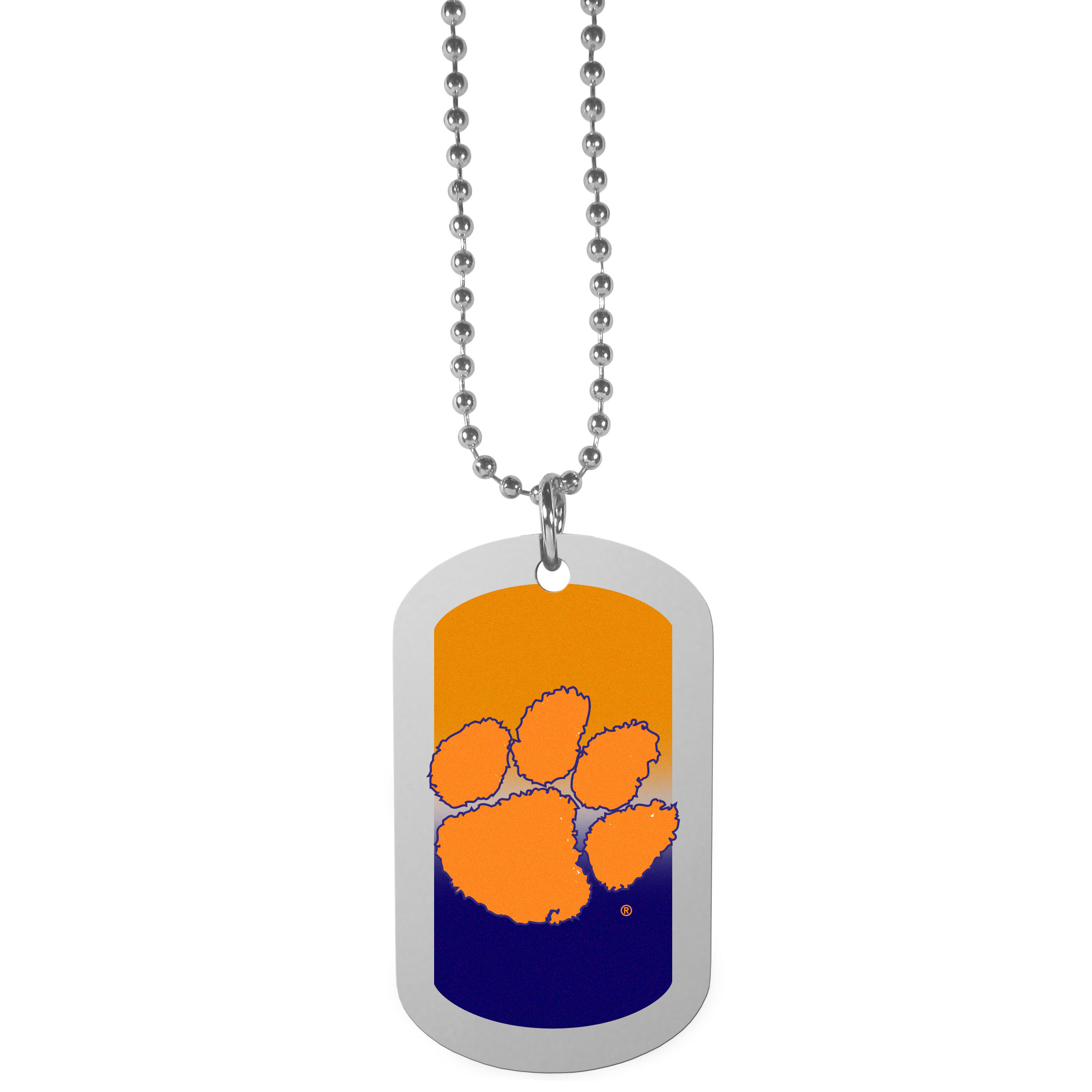 Clemson Tigers Team Tag Necklace - Dog tag necklaces are a fashion statement that is here to stay. The sporty version of the classic tag features a gradient print in team colors featuring a full color team logo over a high polish tag to create a bold and sporty look. The tag comes on a 26 inch ball chain with a ball and joint clasp. Any Clemson Tigers would be proud to wear this attractive fashion accessory.