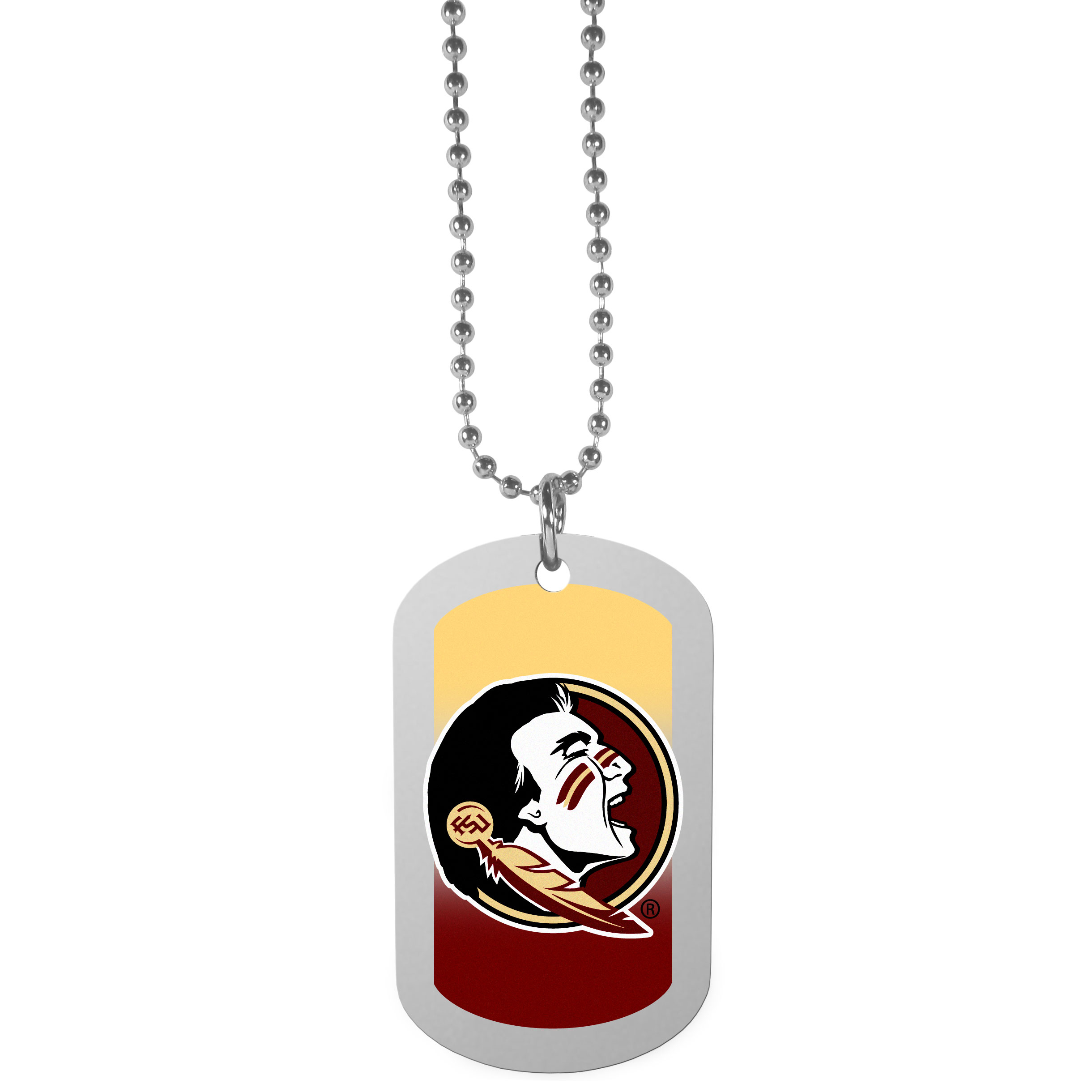 Florida St. Seminoles Team Tag Necklace - Dog tag necklaces are a fashion statement that is here to stay. The sporty version of the classic tag features a gradient print in team colors featuring a full color team logo over a high polish tag to create a bold and sporty look. The tag comes on a 26 inch ball chain with a ball and joint clasp. Any Florida St. Seminoles would be proud to wear this attractive fashion accessory.