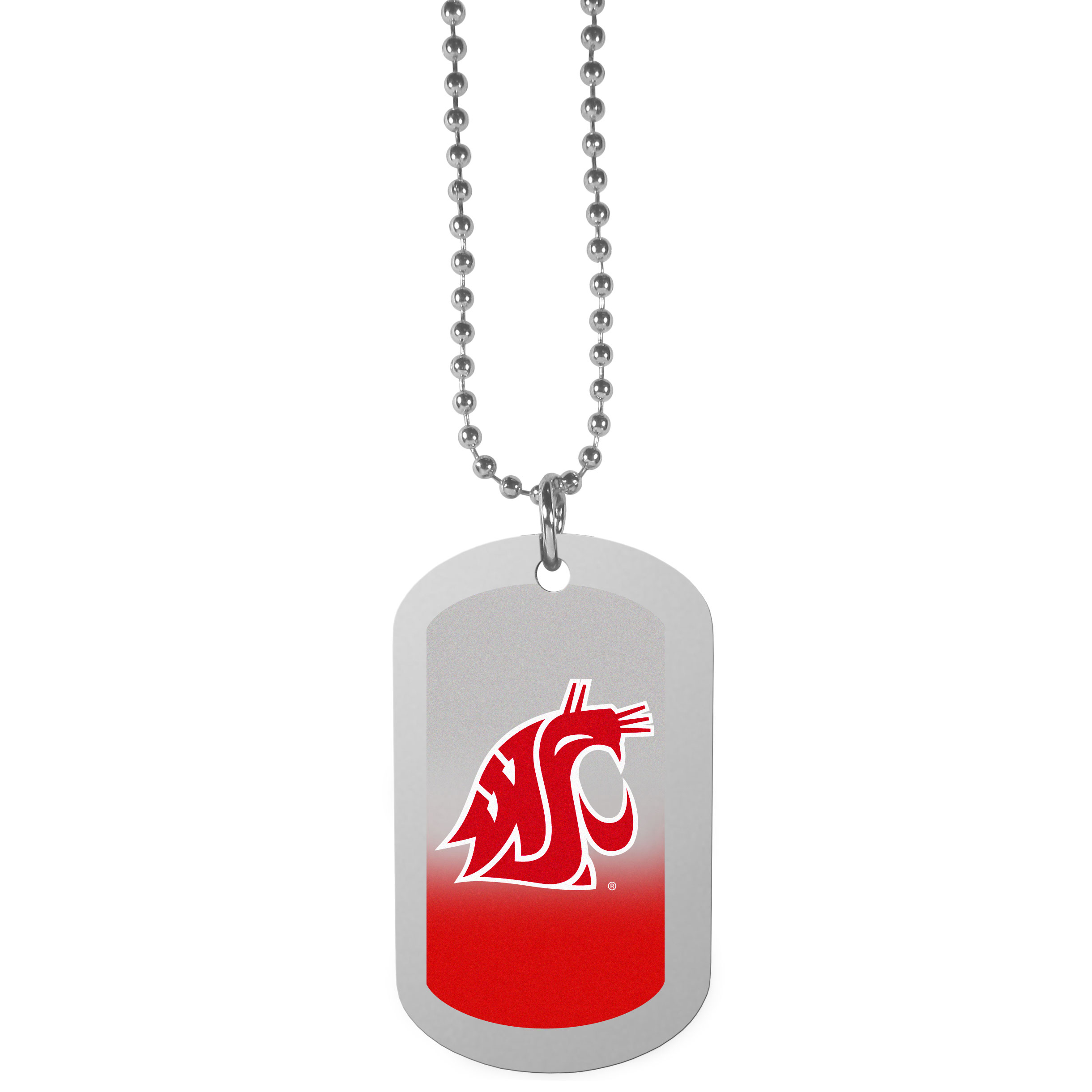 Washington St. Cougars Team Tag Necklace - Dog tag necklaces are a fashion statement that is here to stay. The sporty version of the classic tag features a gradient print in team colors featuring a full color team logo over a high polish tag to create a bold and sporty look. The tag comes on a 26 inch ball chain with a ball and joint clasp. Any Washington St. Cougars would be proud to wear this attractive fashion accessory.