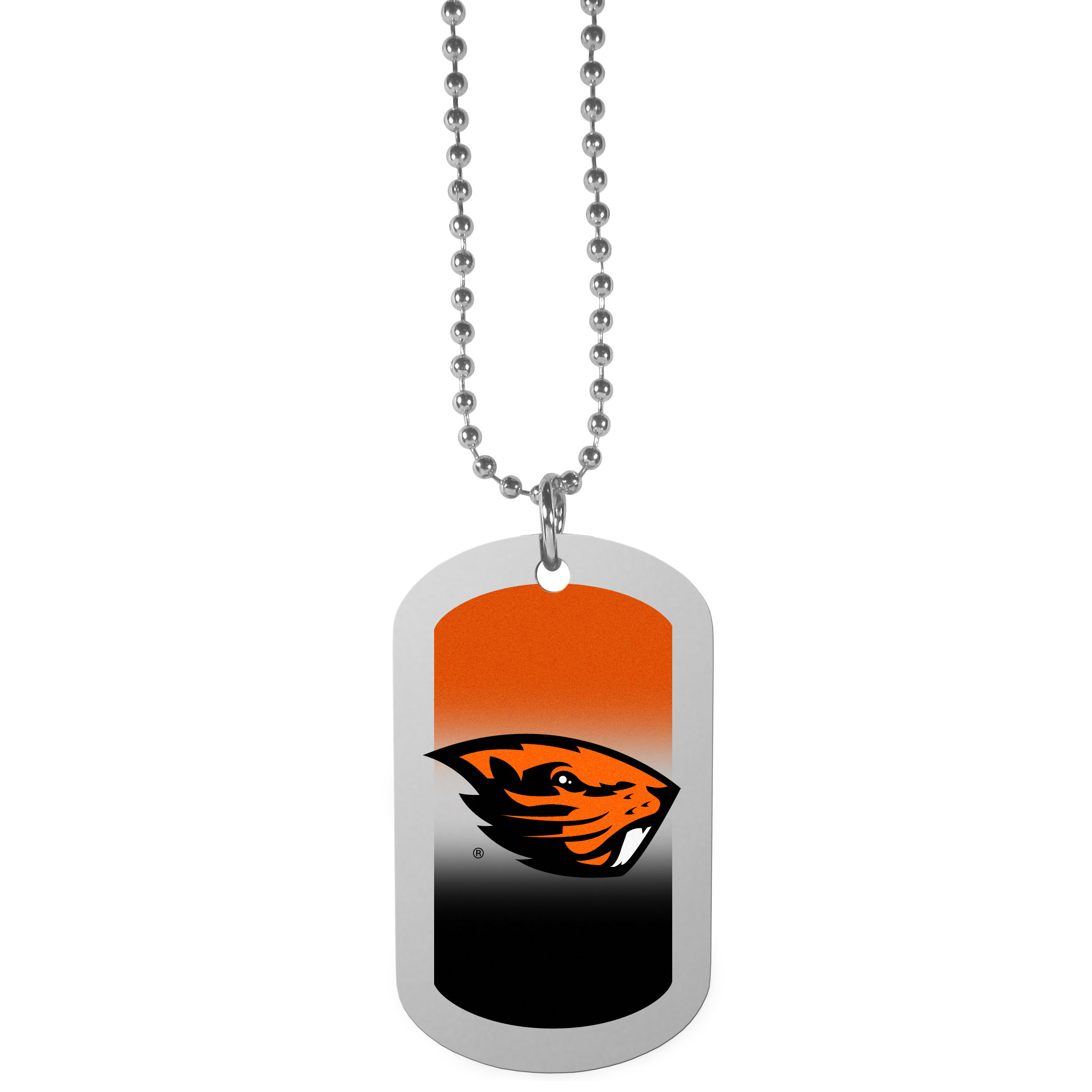 Oregon St. Beavers Team Tag Necklace - Dog tag necklaces are a fashion statement that is here to stay. The sporty version of the classic tag features a gradient print in team colors featuring a full color team logo over a high polish tag to create a bold and sporty look. The tag comes on a 26 inch ball chain with a ball and joint clasp. Any Oregon St. Beavers would be proud to wear this attractive fashion accessory.