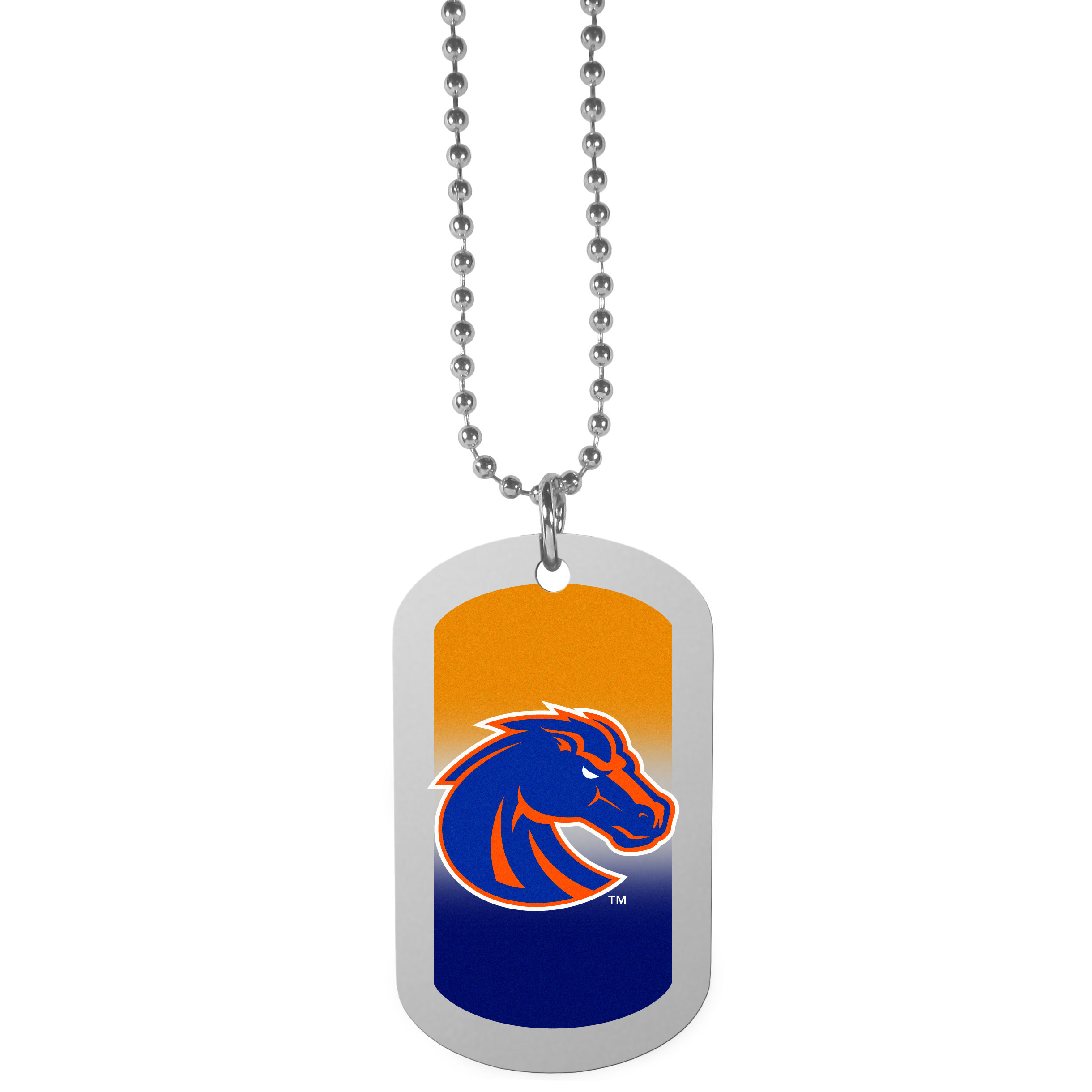 Boise St. Broncos Team Tag Necklace - Dog tag necklaces are a fashion statement that is here to stay. The sporty version of the classic tag features a gradient print in team colors featuring a full color team logo over a high polish tag to create a bold and sporty look. The tag comes on a 26 inch ball chain with a ball and joint clasp. Any Boise St. Broncos would be proud to wear this attractive fashion accessory.