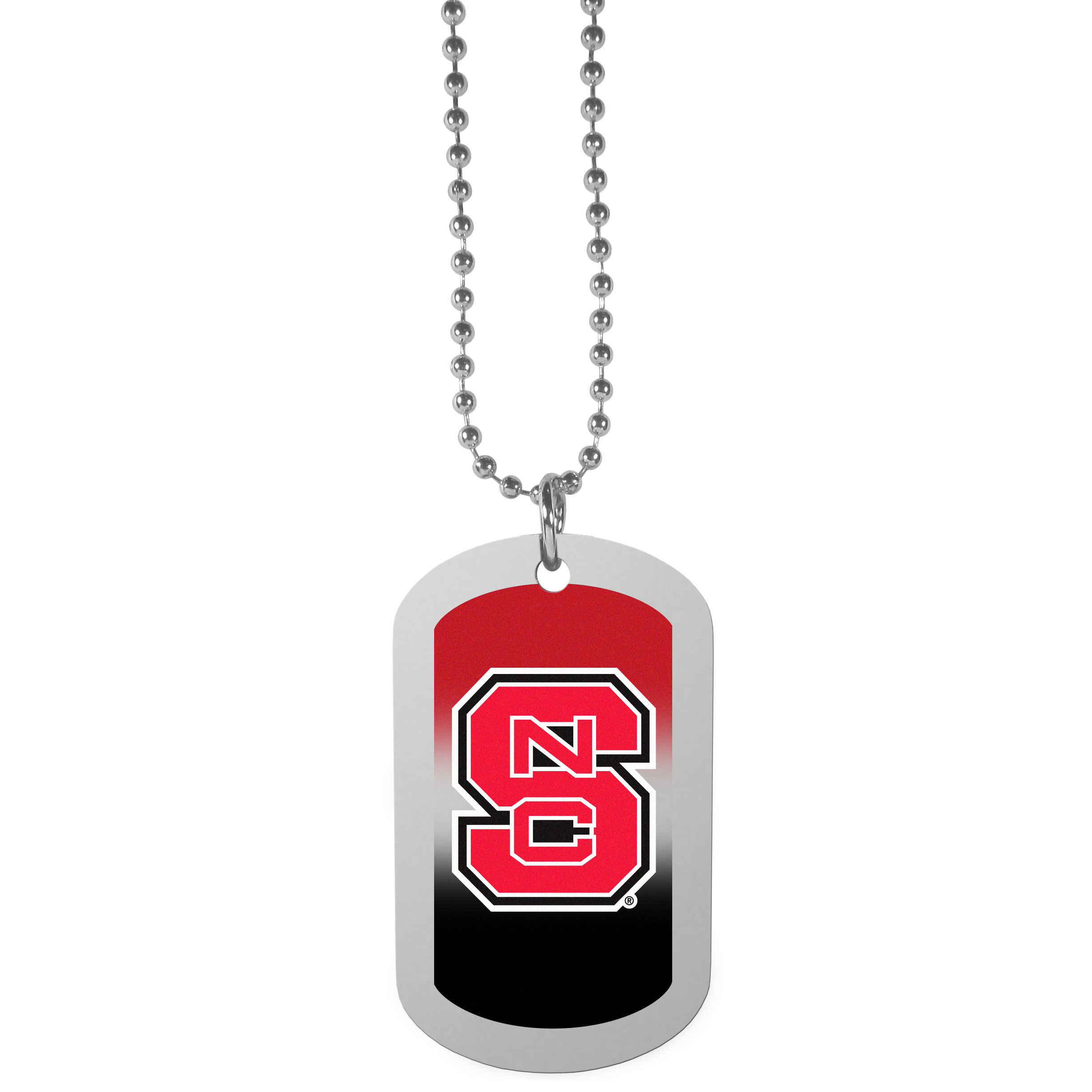 N. Carolina St. Wolfpack Team Tag Necklace - Dog tag necklaces are a fashion statement that is here to stay. The sporty version of the classic tag features a gradient print in team colors featuring a full color team logo over a high polish tag to create a bold and sporty look. The tag comes on a 26 inch ball chain with a ball and joint clasp. Any N. Carolina St. Wolfpack would be proud to wear this attractive fashion accessory.