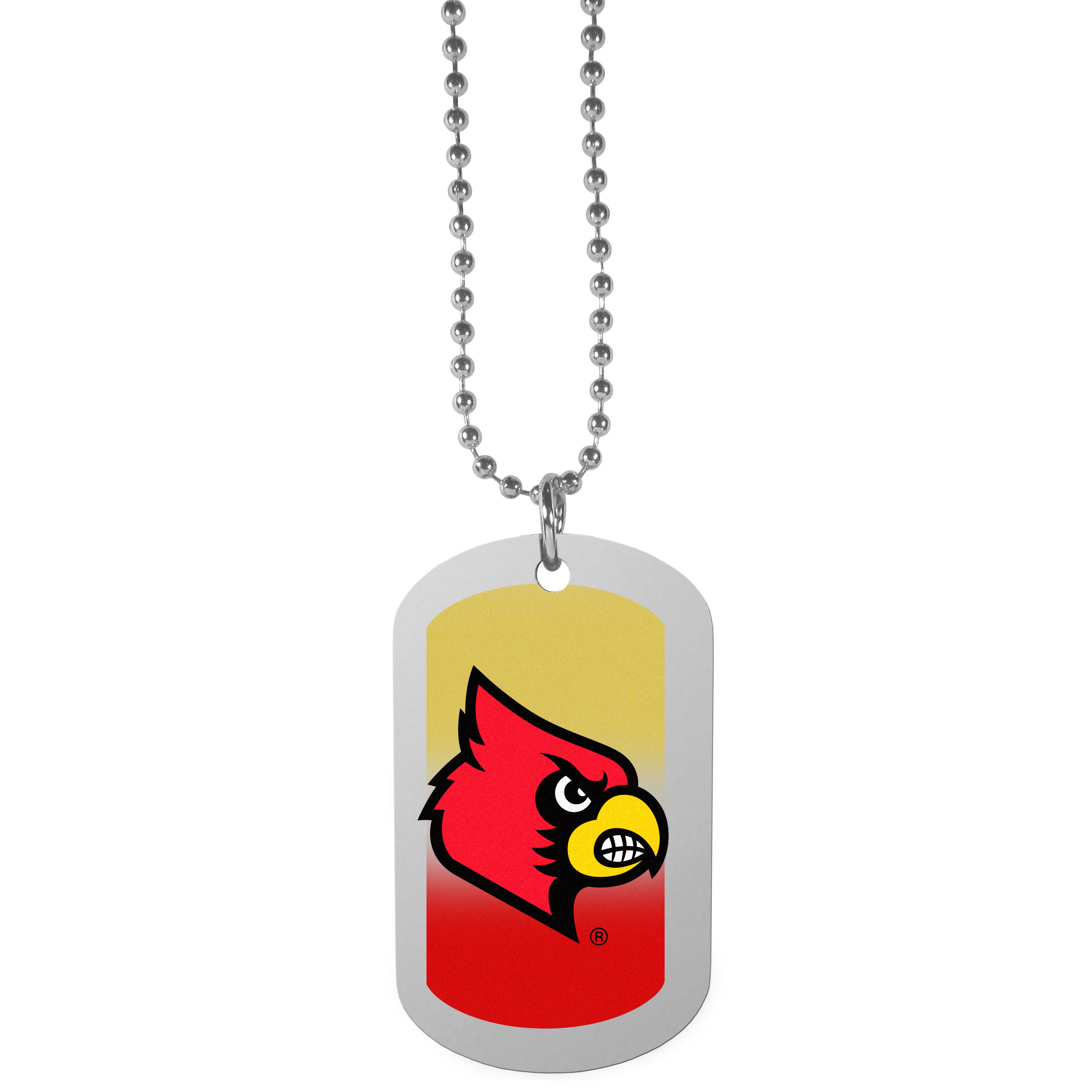 Louisville Cardinals Team Tag Necklace - Dog tag necklaces are a fashion statement that is here to stay. The sporty version of the classic tag features a gradient print in team colors featuring a full color team logo over a high polish tag to create a bold and sporty look. The tag comes on a 26 inch ball chain with a ball and joint clasp. Any Louisville Cardinals would be proud to wear this attractive fashion accessory.