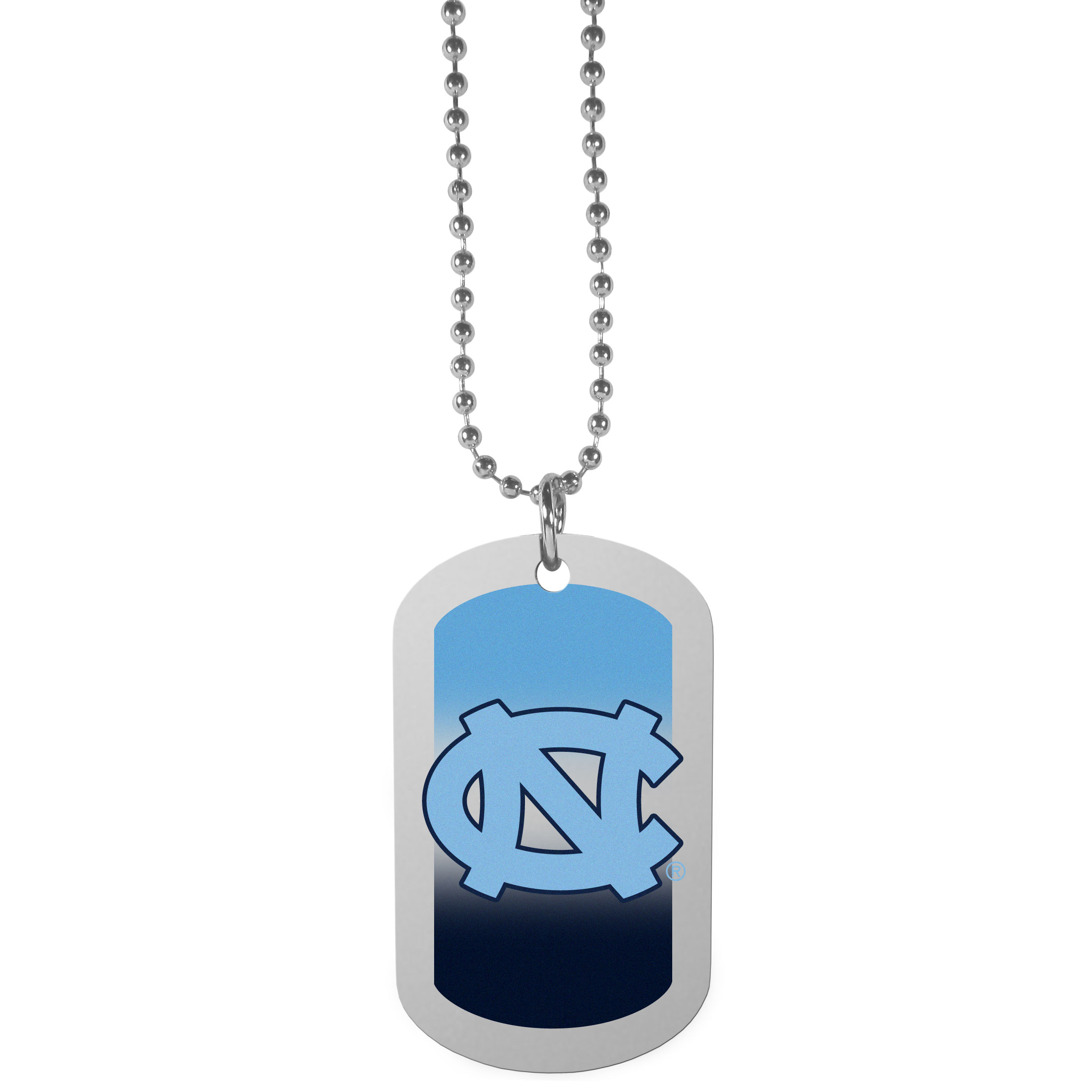 N. Carolina Tar Heels Team Tag Necklace - Dog tag necklaces are a fashion statement that is here to stay. The sporty version of the classic tag features a gradient print in team colors featuring a full color team logo over a high polish tag to create a bold and sporty look. The tag comes on a 26 inch ball chain with a ball and joint clasp. Any N. Carolina Tar Heels would be proud to wear this attractive fashion accessory.