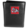 Fresno St. Bulldogs Deluxe Leather Tri-fold Wallet Packaged in Gift Box - Our officially licensed fine grain leather wallet features numerous card slots, windowed ID slots, removable picture slots and large billfold pockets. This quality wallet has an enameled Fresno St. Bulldogs emblem on the front of the wallet making it a stylish way to show off your team pride. Thank you for shopping with CrazedOutSports.com